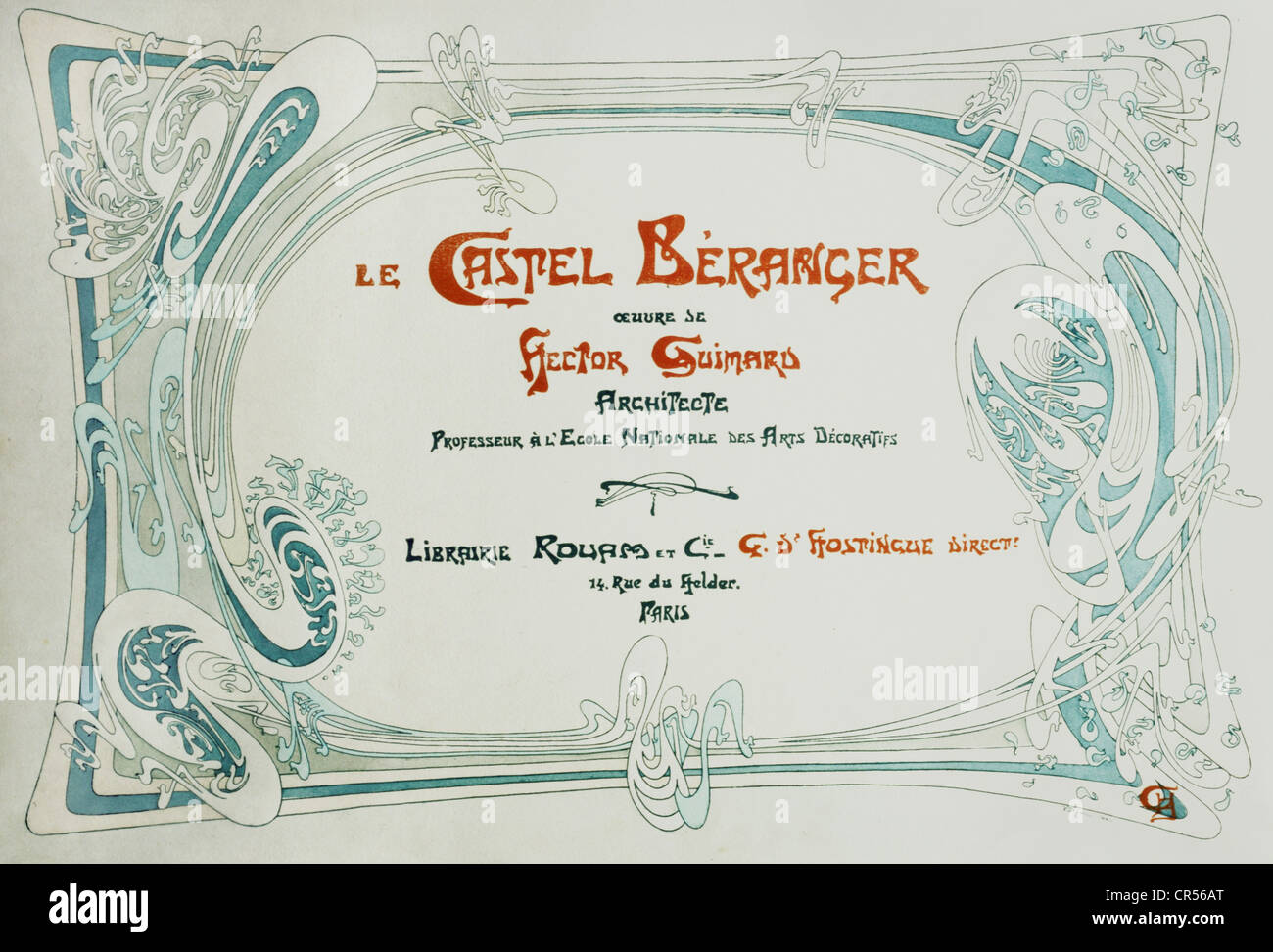 Guimard, Hector, 10.3.1867 - 20.5.1942, French architect, advertising for his building Le Castel Beranger, Paris, - Stock Image