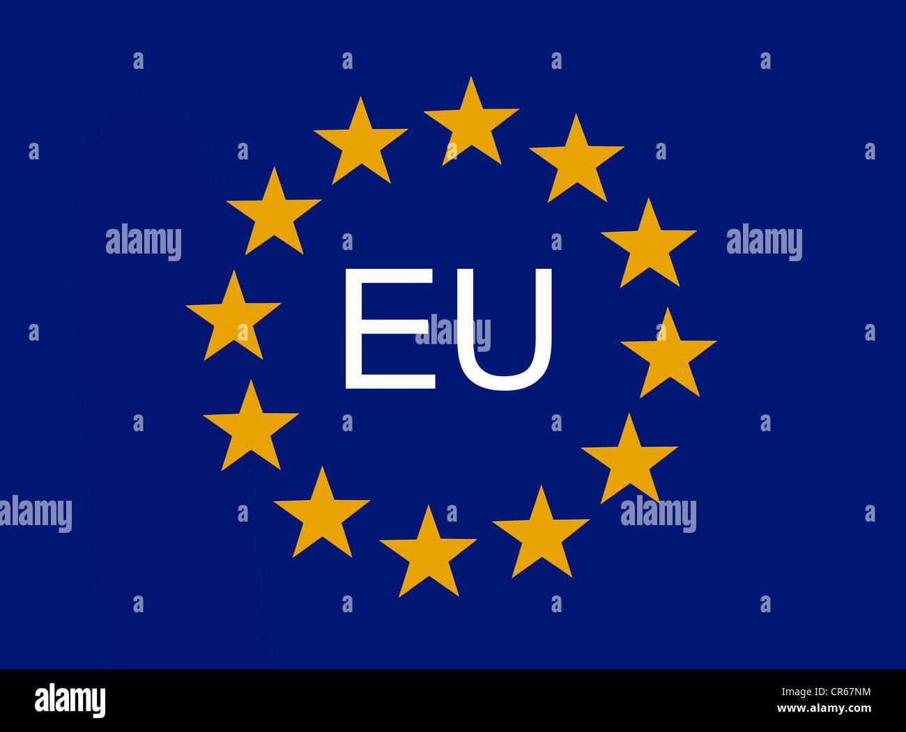 European symbol, 12 EU stars of the European Union - Stock Image