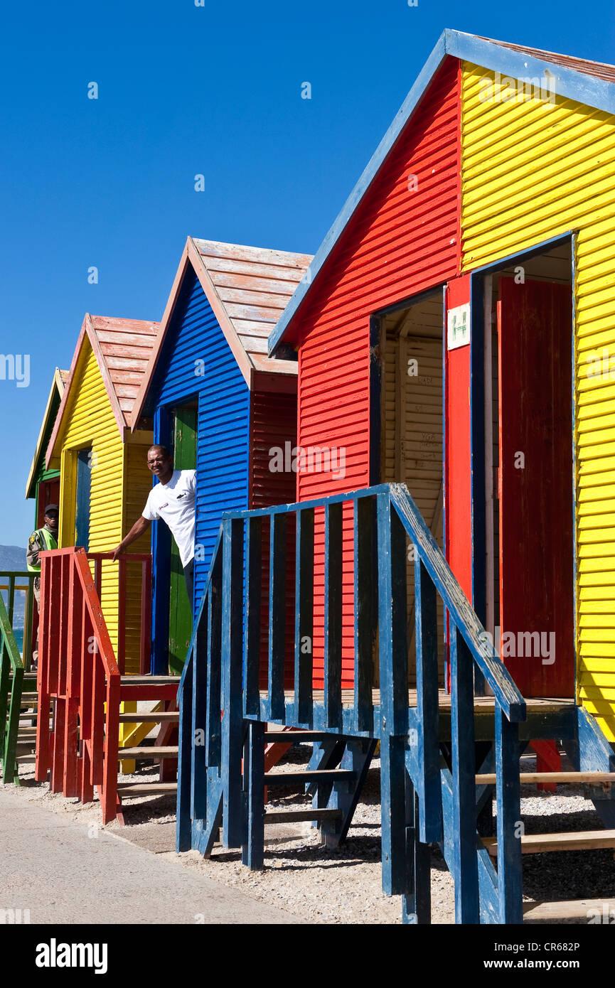 South Africa, Western Cape, Cape Peninsula, False Bay, Saint James, beach cabins - Stock Image