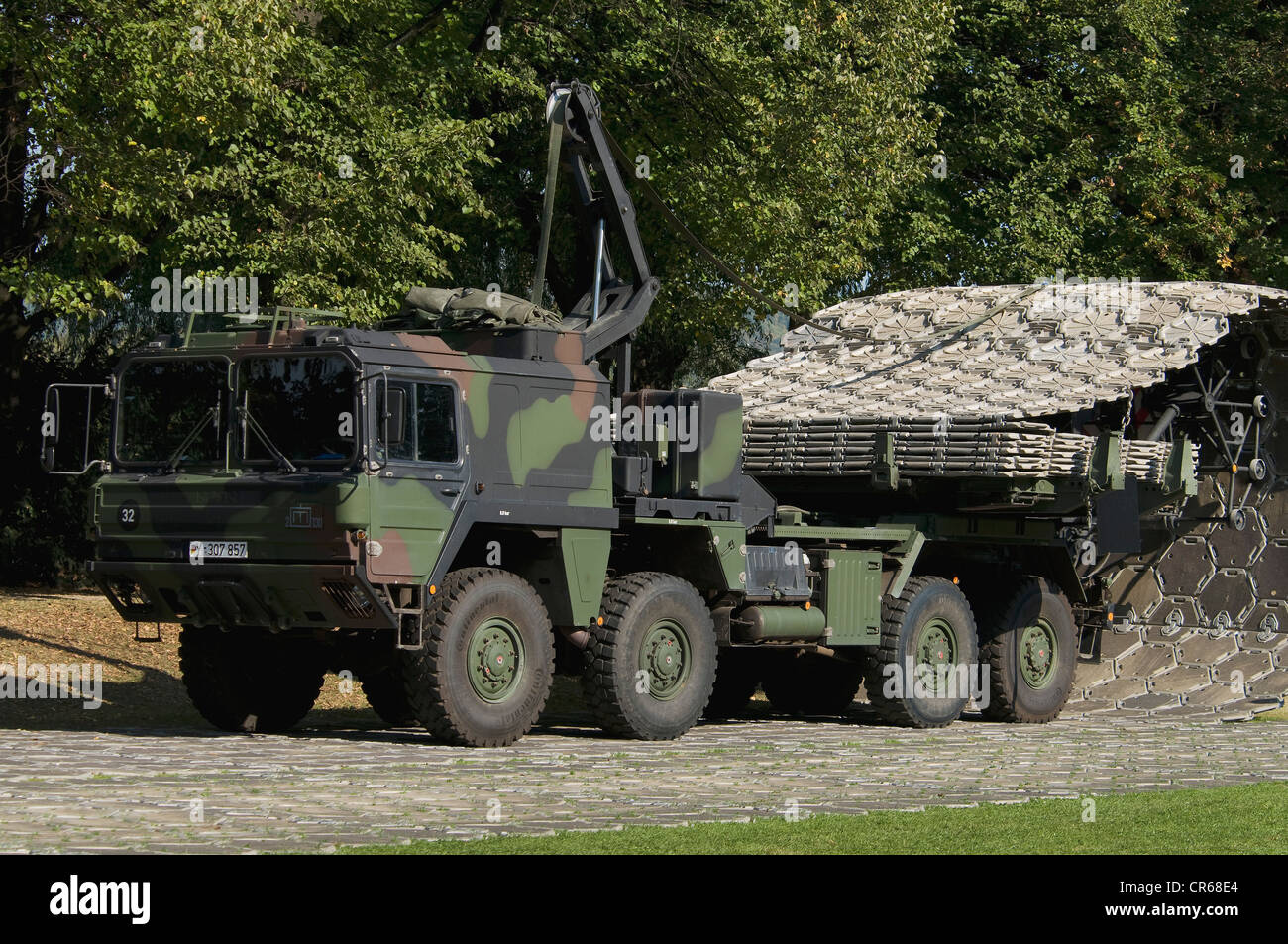 Folding street, Bundeswehr, federal army, equipment with partially placed folding street, 50m in one piece, Bonn - Stock Image