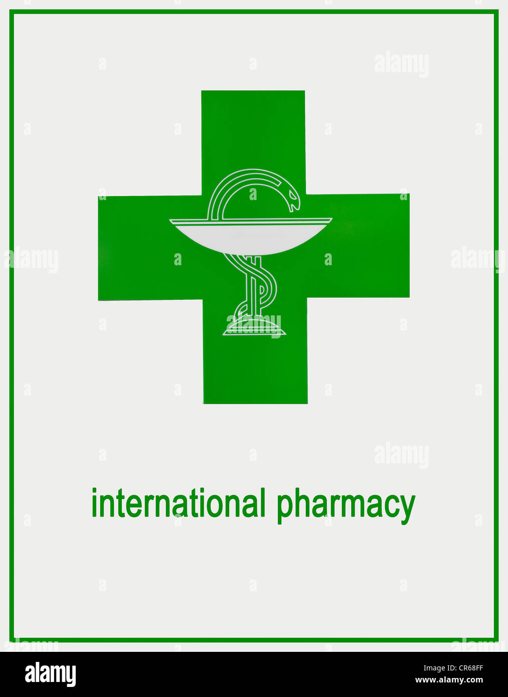 International pharmacy sign, green logo with Aesculapian snake - Stock Image