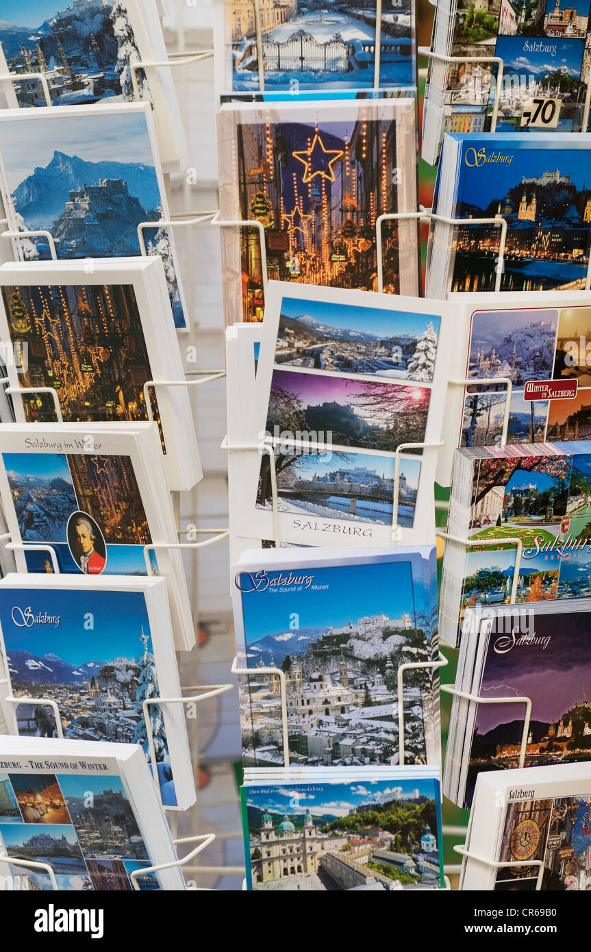Colorful postcards on a sales rack, Salzburg, Austria, Europe - Stock Image