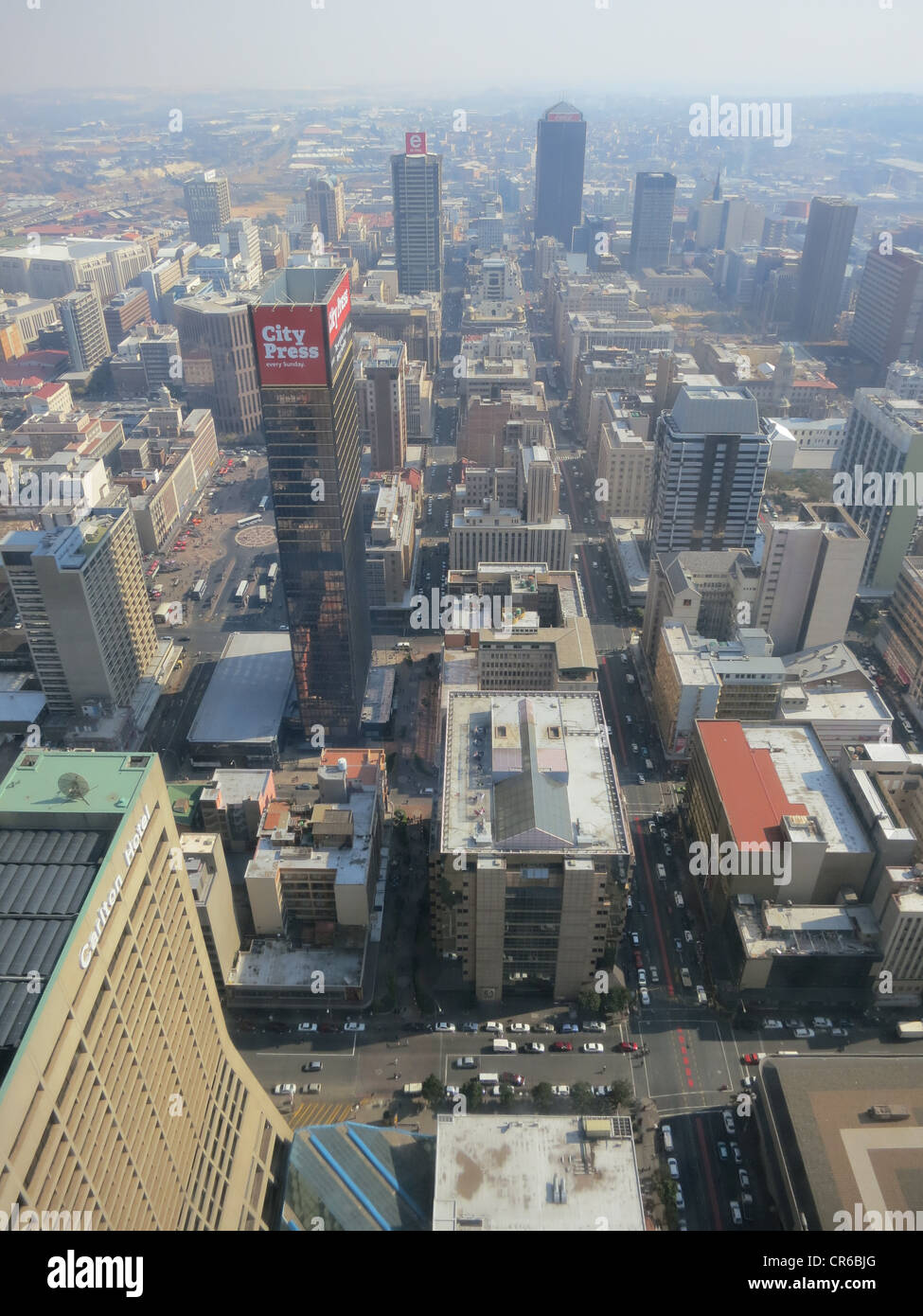 View of the Carlton Centre, 50th Floor, Top of Africa in Johannesburg, South Africa. View of the city's skyscrapers - Stock Image