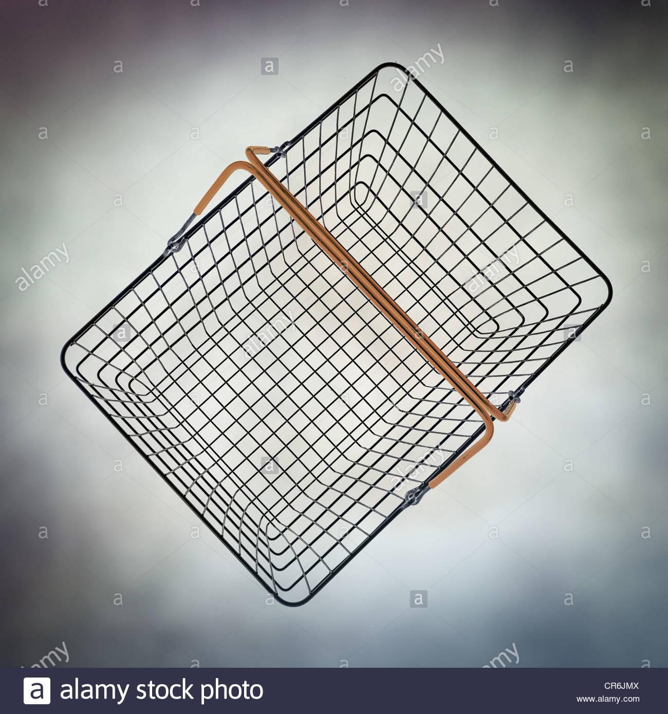 empty wire basket - Stock Image