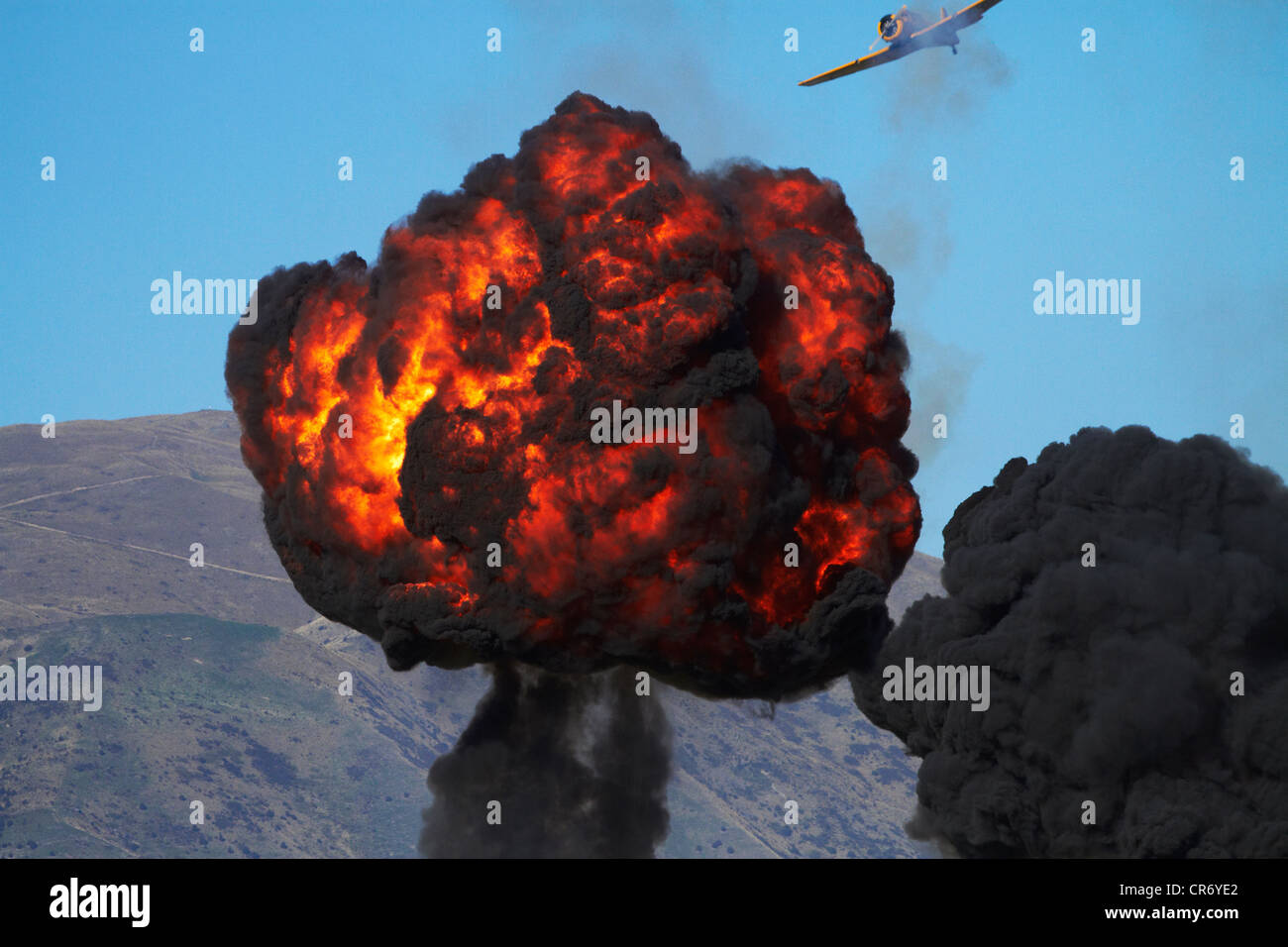 Controlled Explosion at Warbirds Over Wanaka Airshow, Otago, South Island, New Zealand - Stock Image