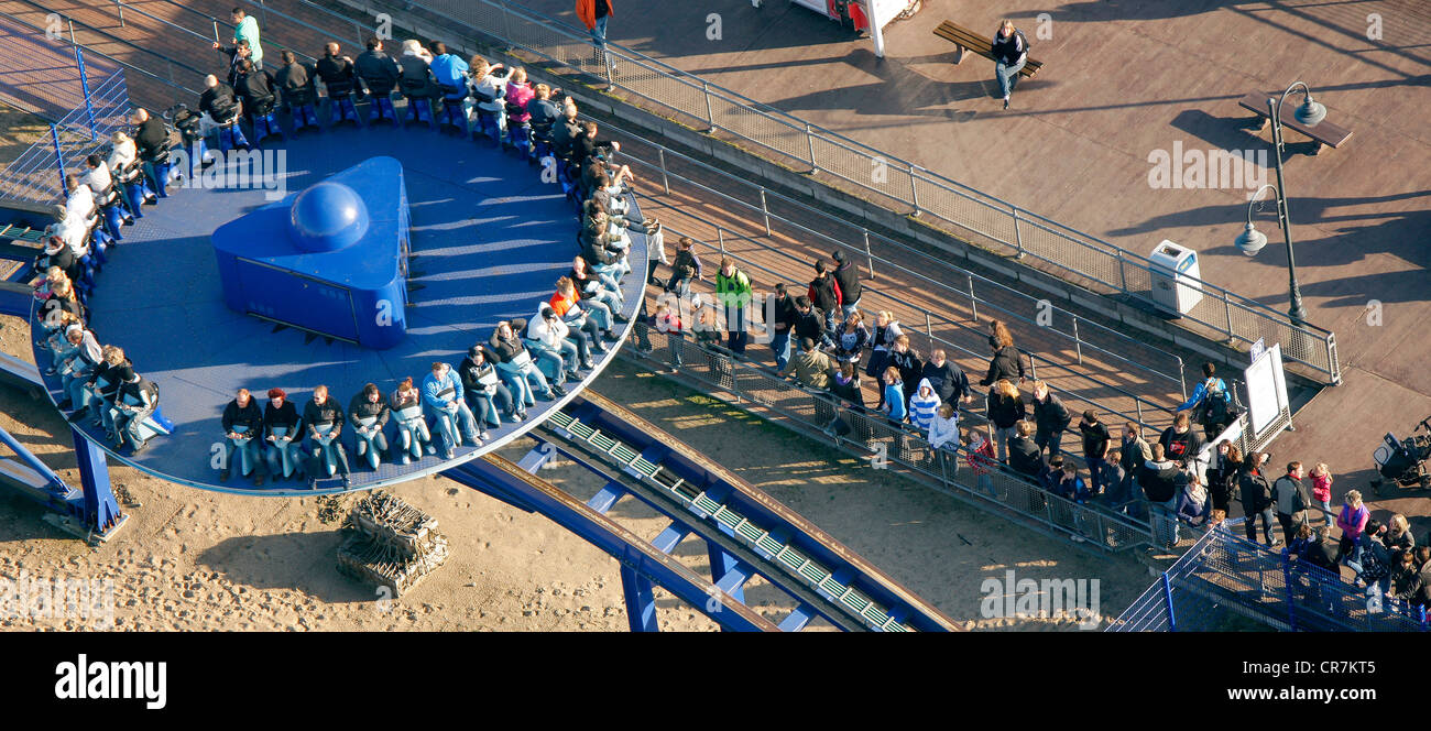 Aerial view, Crazy Surfer, Movie Park Germany, amusement park, Bottrop Kirchhellen, Ruhr Area, North Rhine-Westphalia - Stock Image