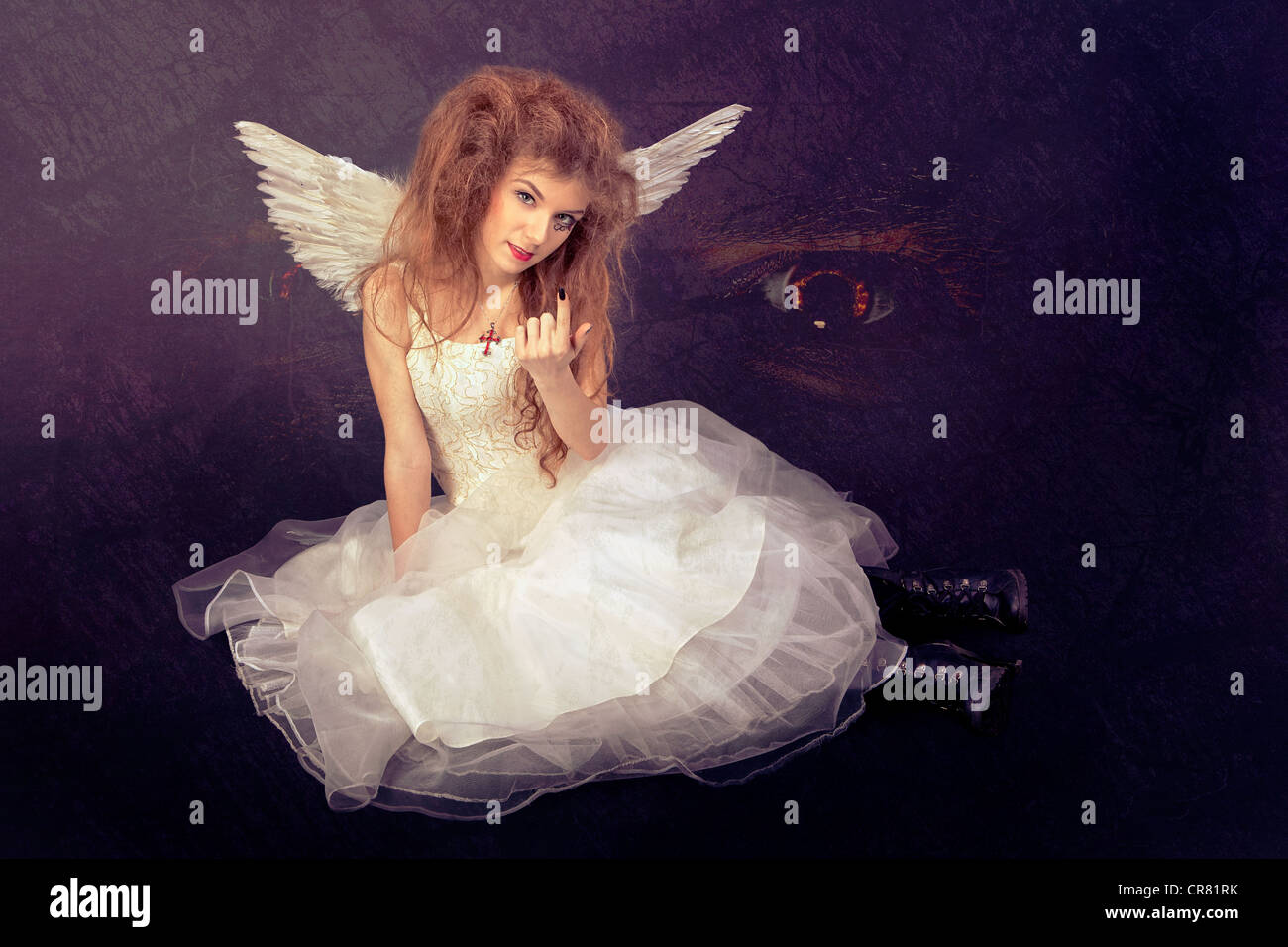 False angel leading to temptation - Stock Image