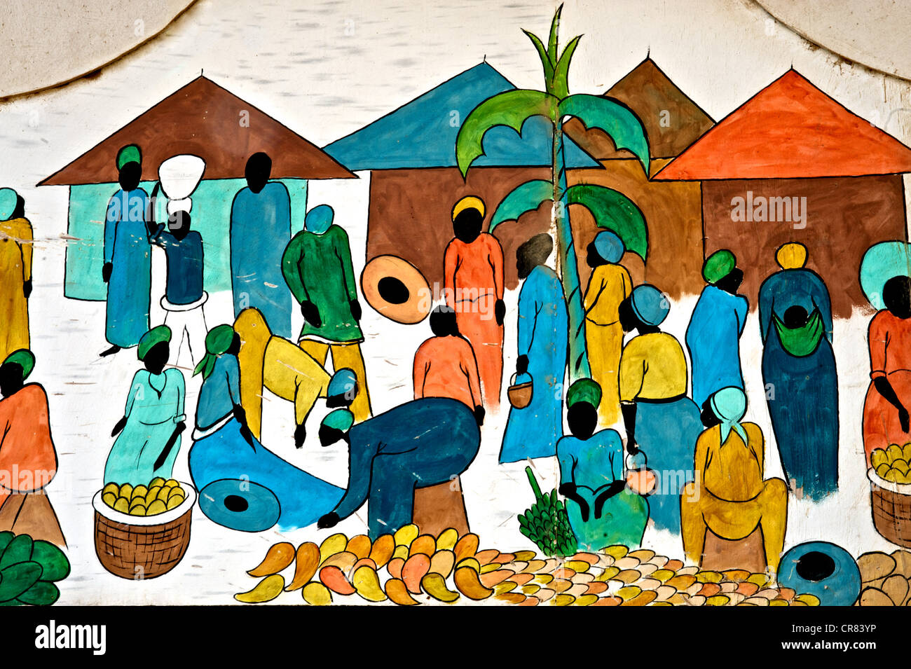 Artistic detail of colorful drawing depicting African life Stock Photo