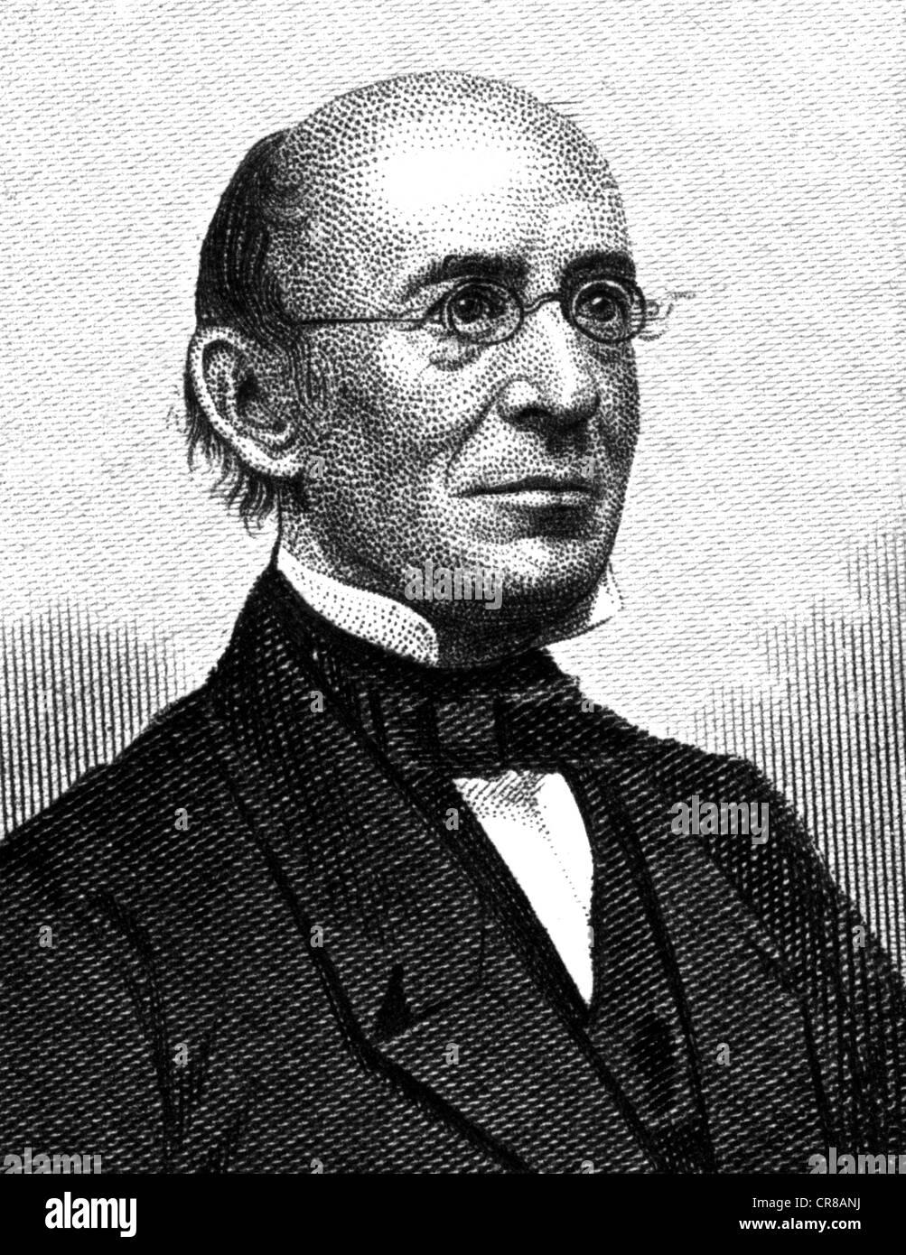 Garrison, William Lloyd, 10.12.1805 - 24.5.1879, American journalist and social reformer, portrait, steel engraving, - Stock Image