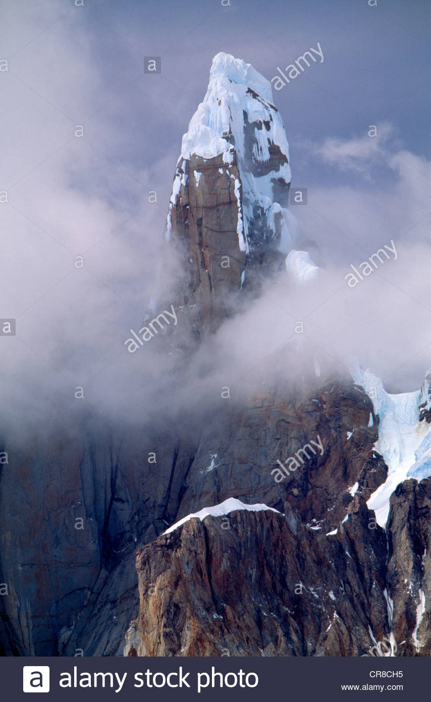 Cerro Torre rising out of mist, Los Glaciares National Park, Argentina - Stock Image