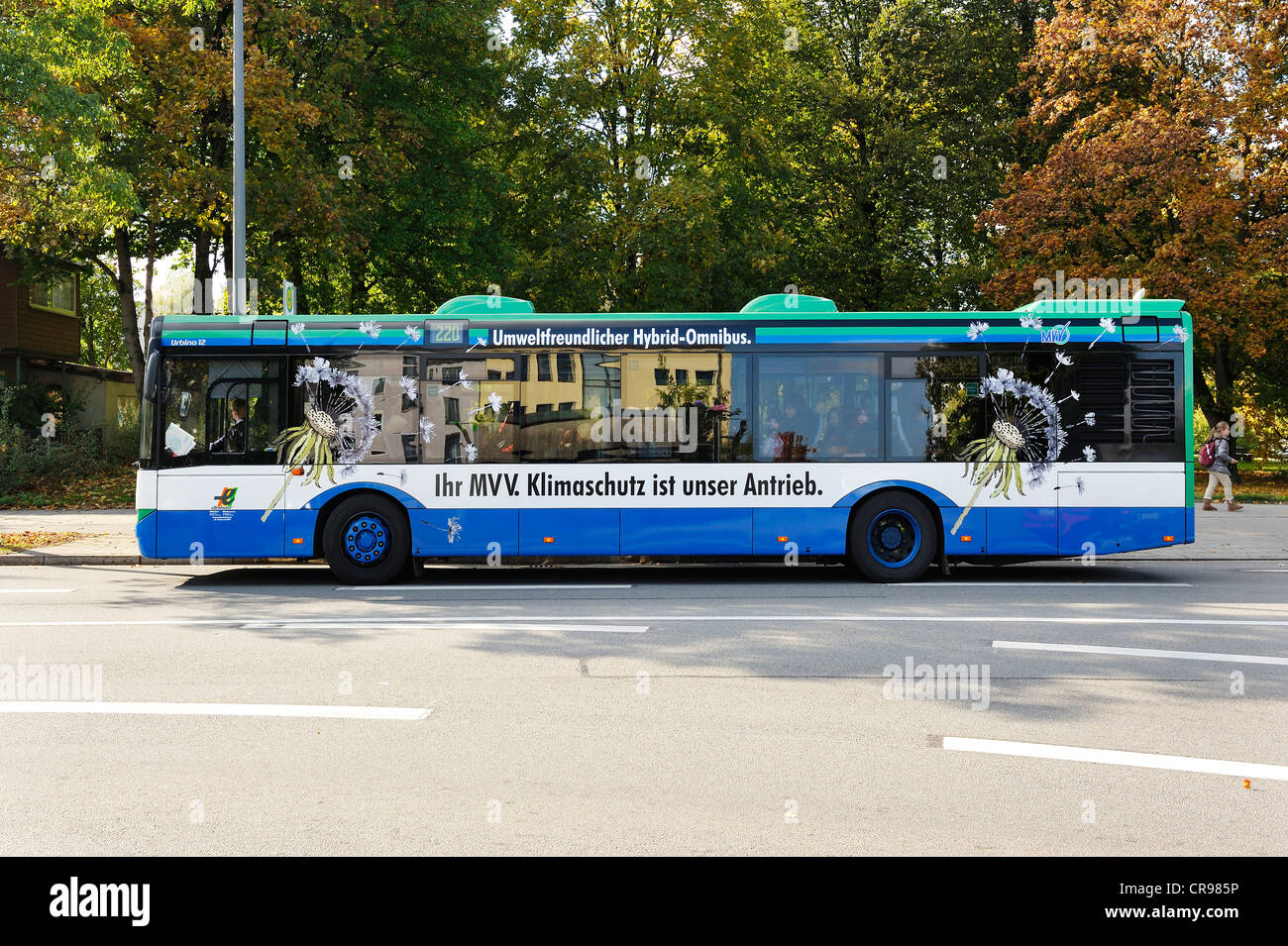 Environmentally-friendly hybrid bus, Munich, Bavaria, Germany, Europe - Stock Image