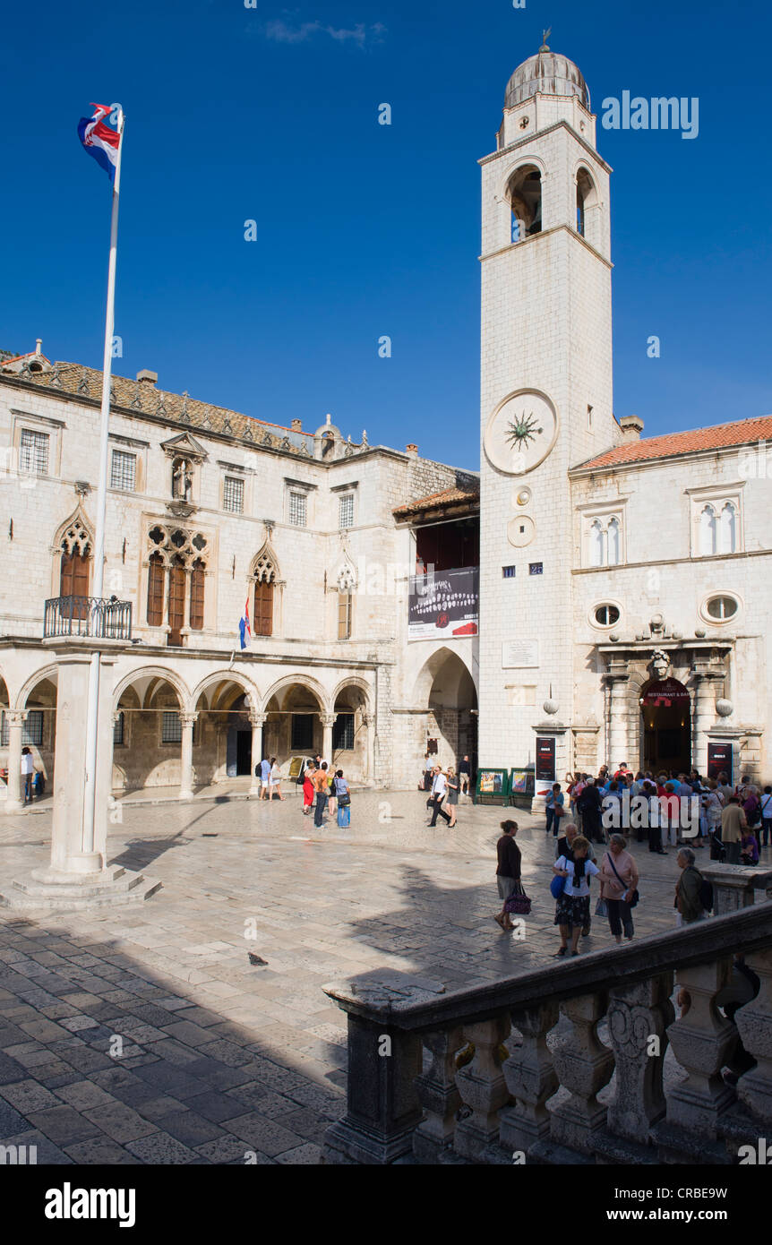 Clock tower, Sponza Palace, Luza Square, Dubrovnik, Dalmatia, Croatia, Europe - Stock Image
