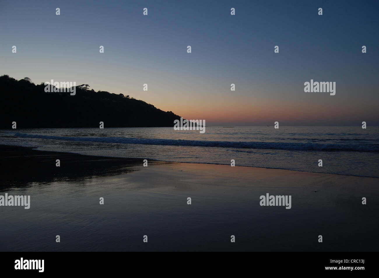 Sunset on Carbis Bay Beach, St Ives, Cornwall. - Stock Image