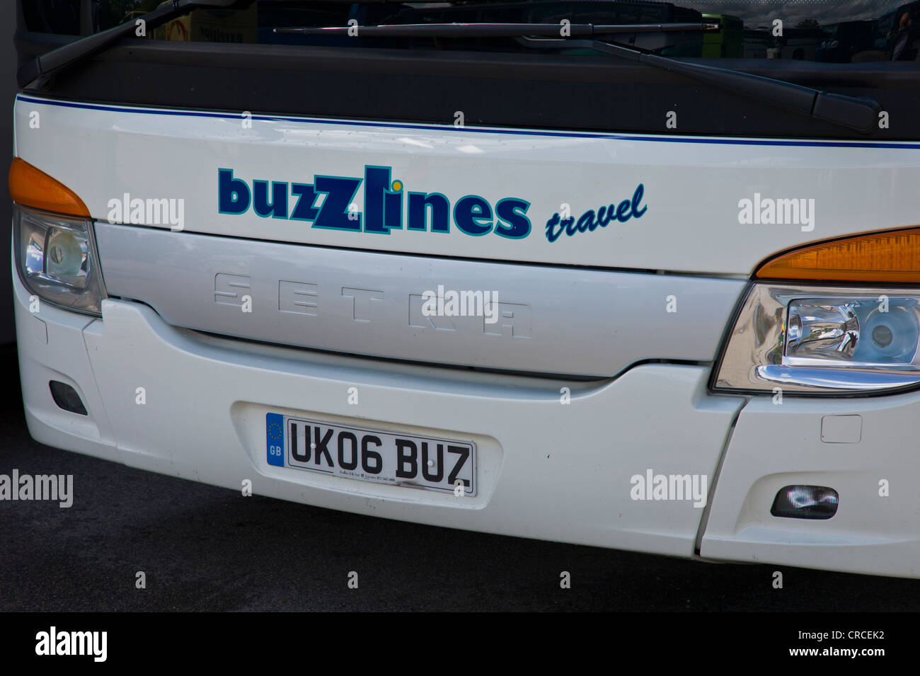 Front of a Buzz Lines Travel coach - Stock Image