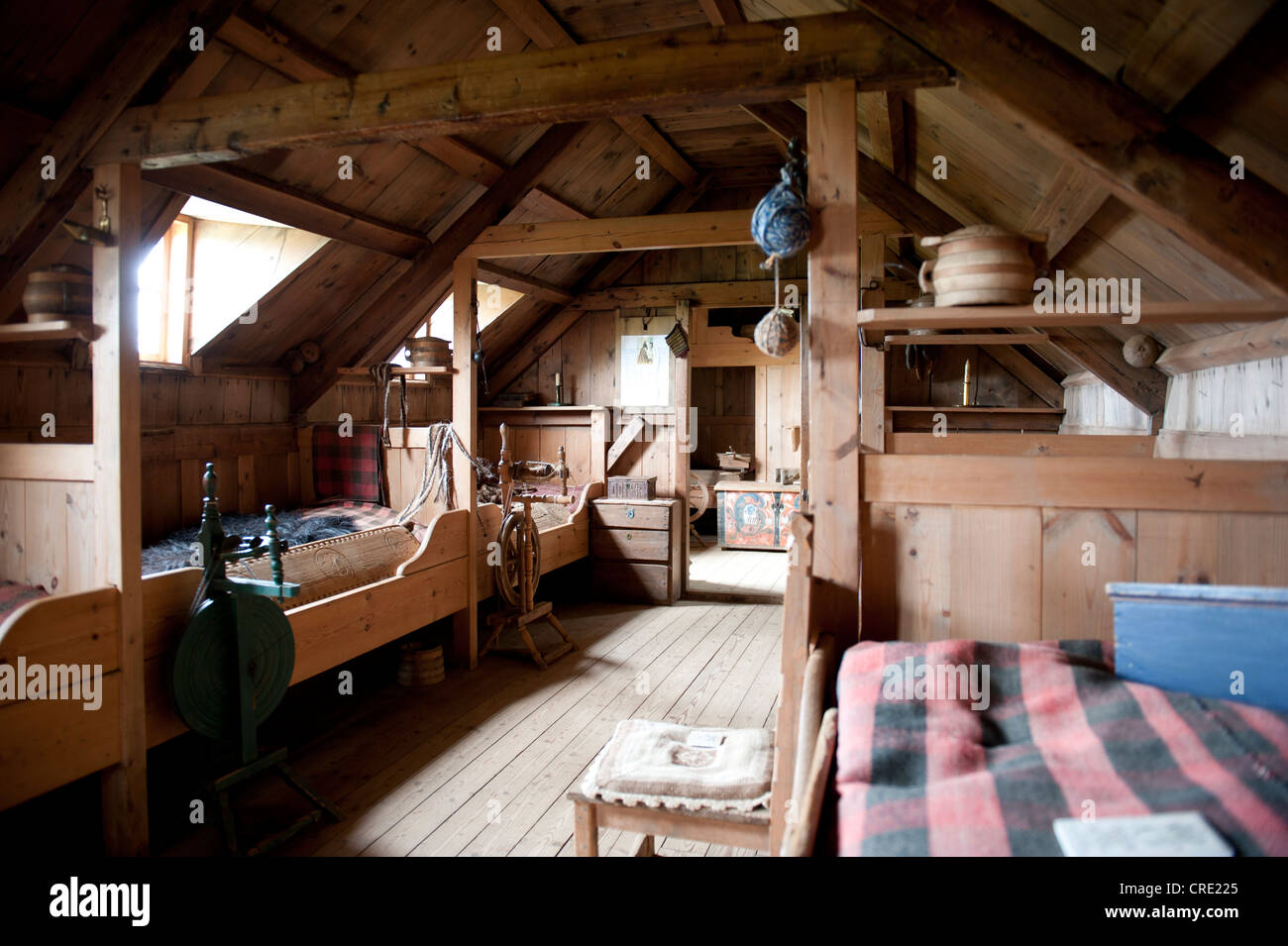 Living In The Middle Ages Interior View Wooden Furniture Old Sod House Turf And Constructions Open Air Museum