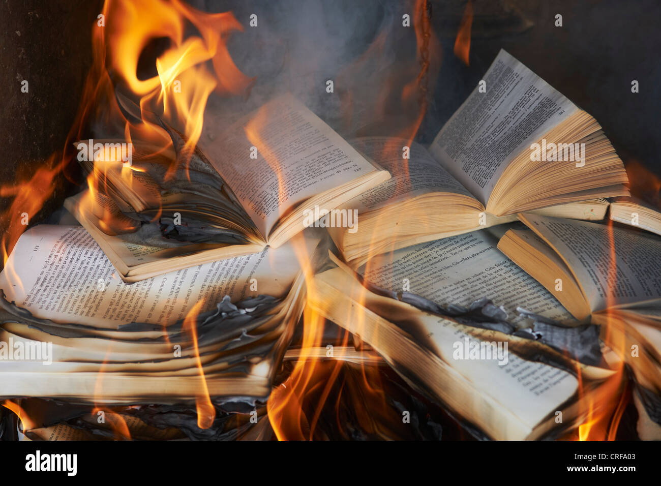 Books burning in fire Stock Photo