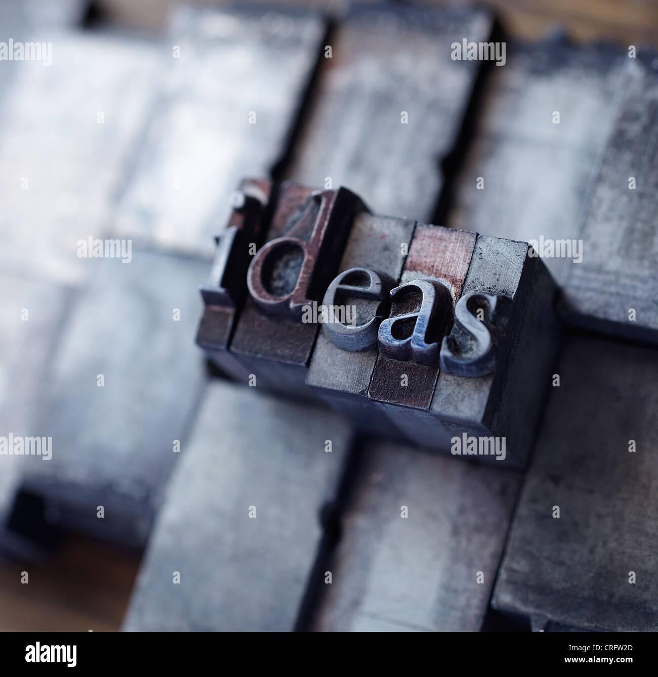 Lead type spelling 'ideas' - Stock Image