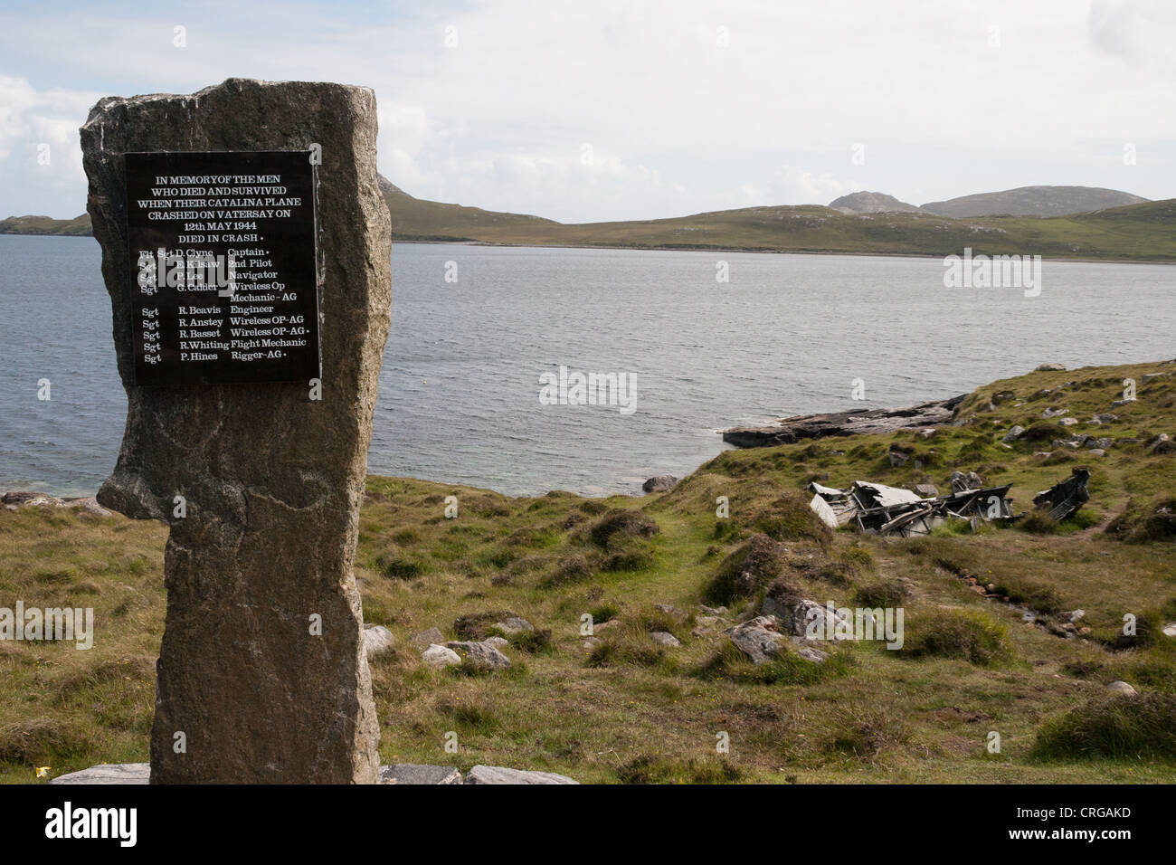 memorial to a crashed catalina airplane on the hebridean island of