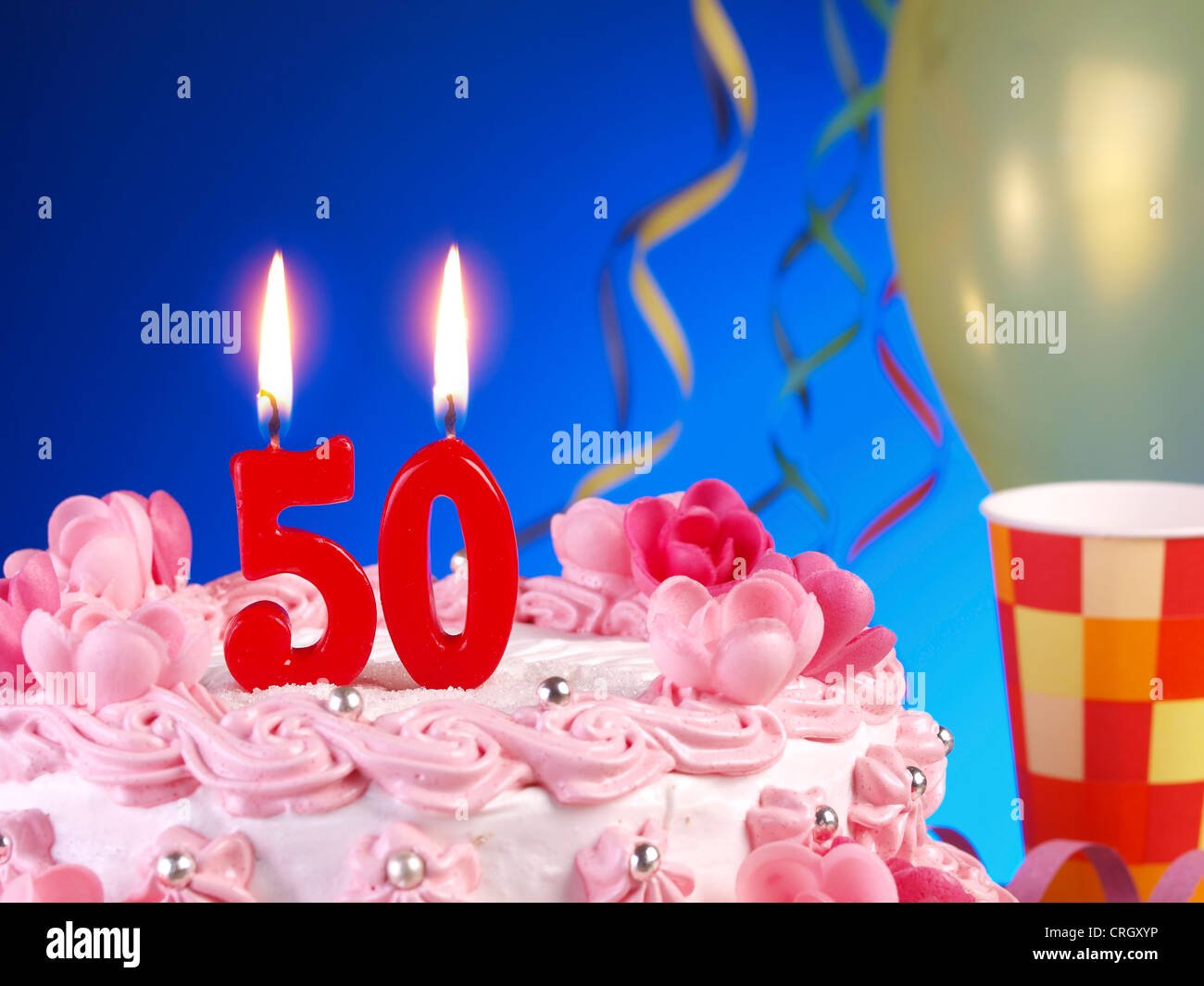 Birthday Anniversary Cake With Candles Showing Nr 50