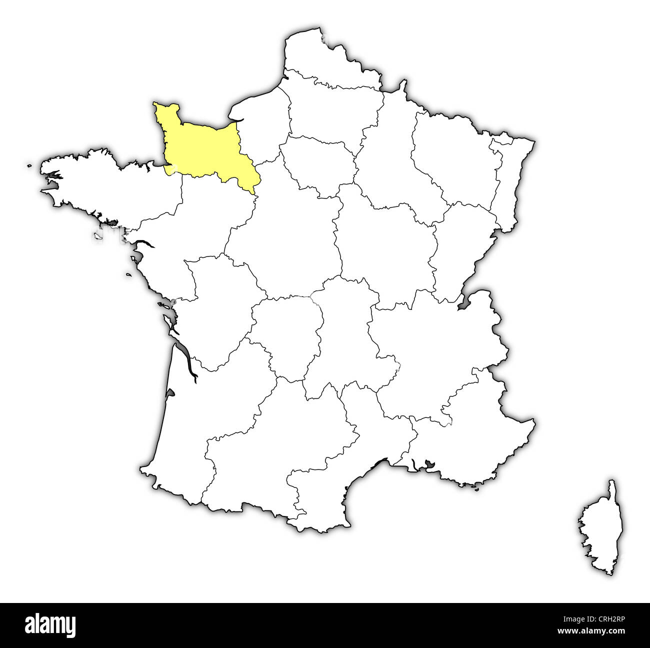 Political map of france with the several regions where lower political map of france with the several regions where lower normandy is highlighted gumiabroncs Images