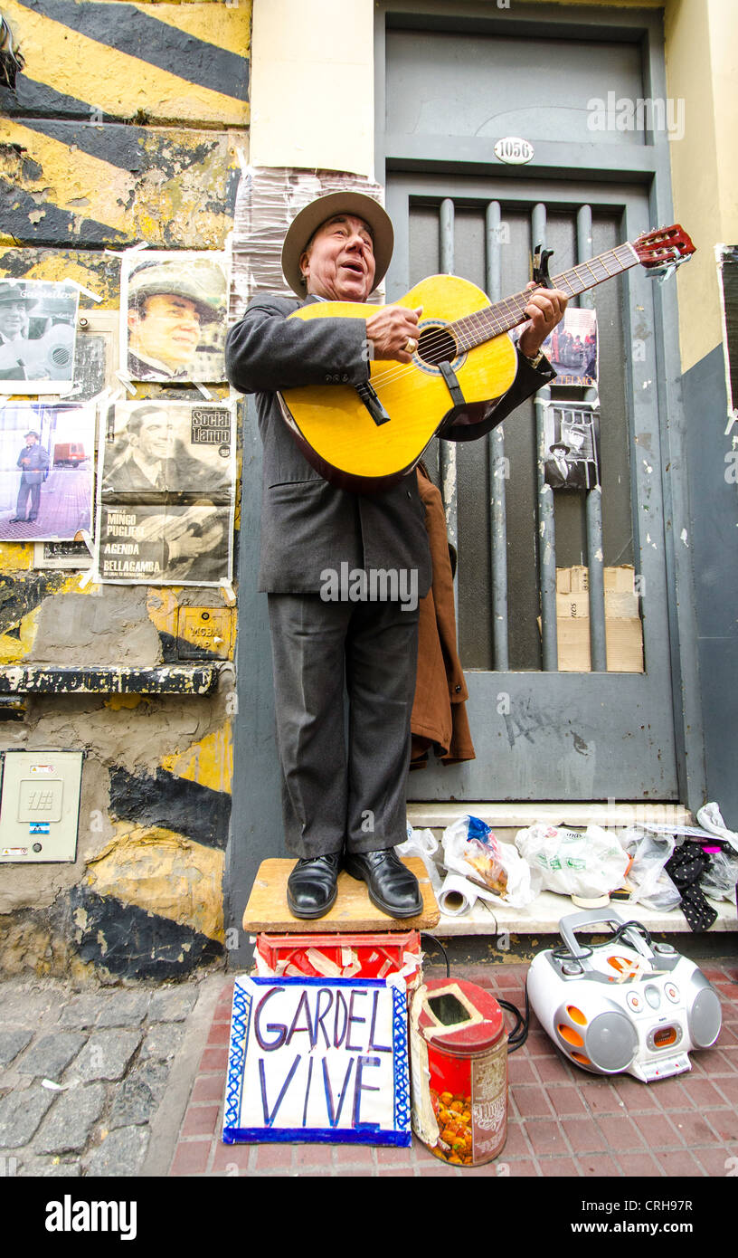 Street performer San Telmo Buenos Aires Argentina South America - Stock Image