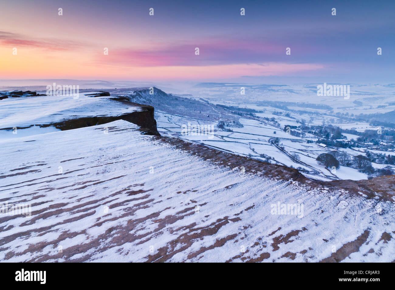 snow early morning on Froggatt edge Derbyshire Peak District National park Calver England UK GB EU Europe - Stock Image