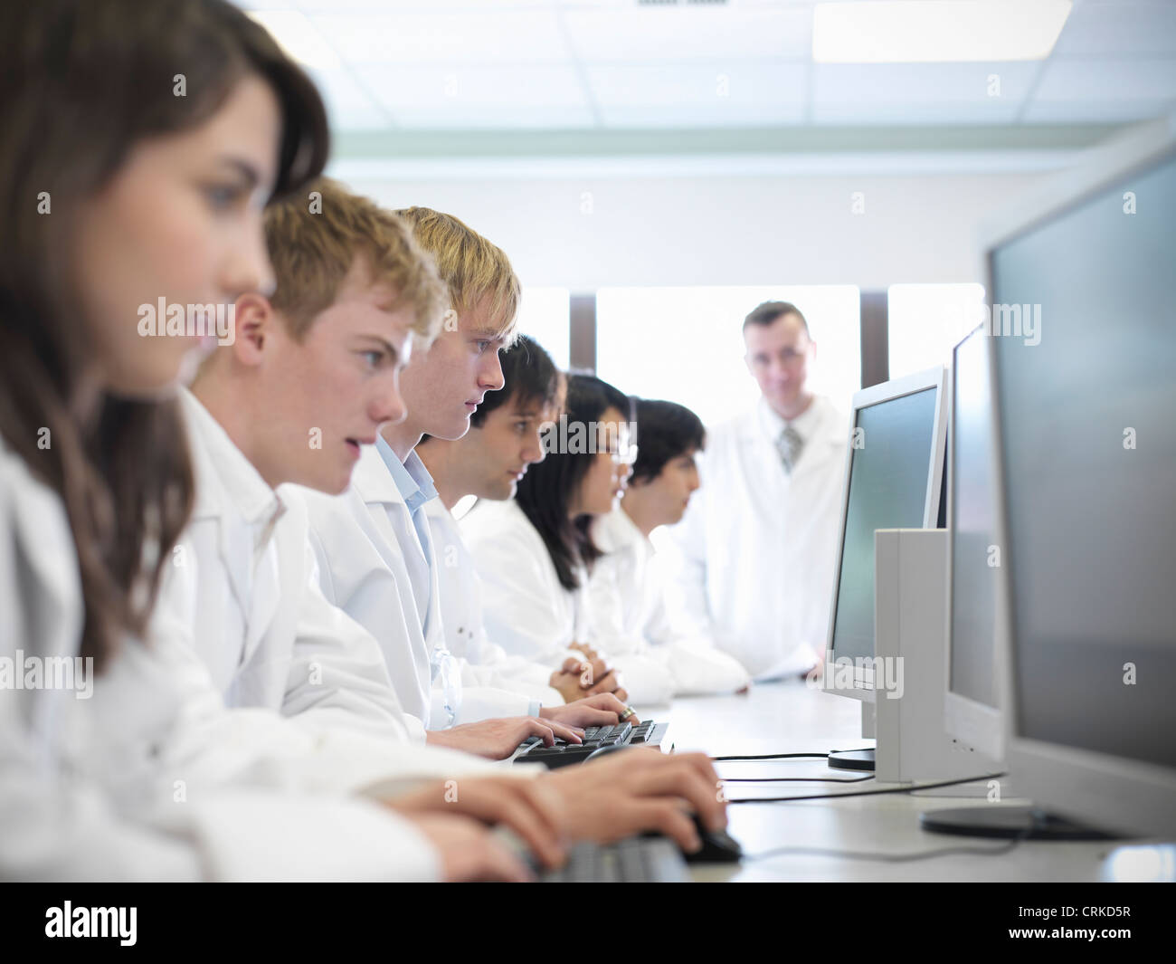 Science students working on computers - Stock Image