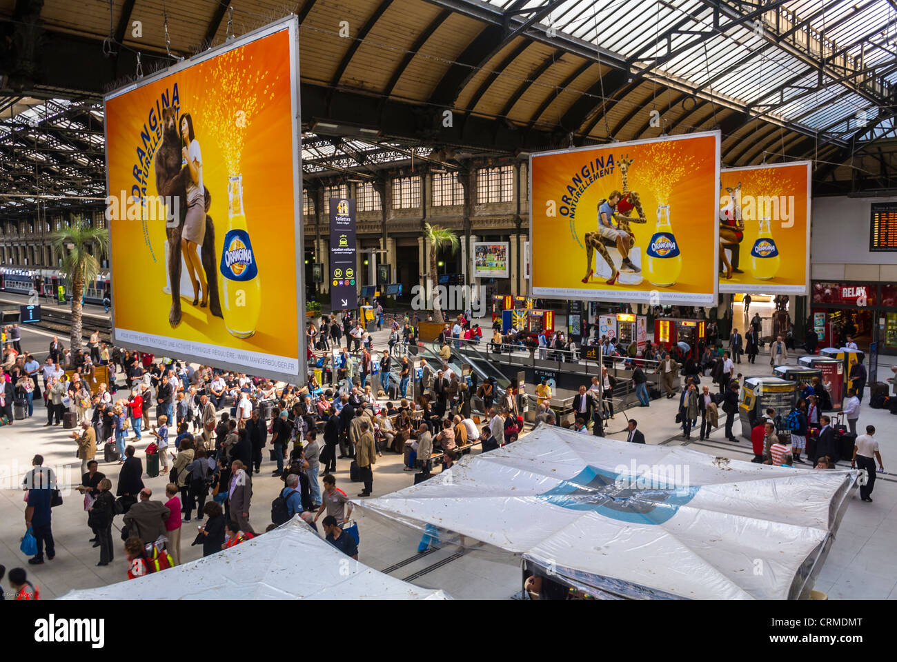 """Paris, France, High Angle, Aerial View of Crowds, French Soft drink Advertising Billboards in Train Station, """"Gare Stock Photo"""