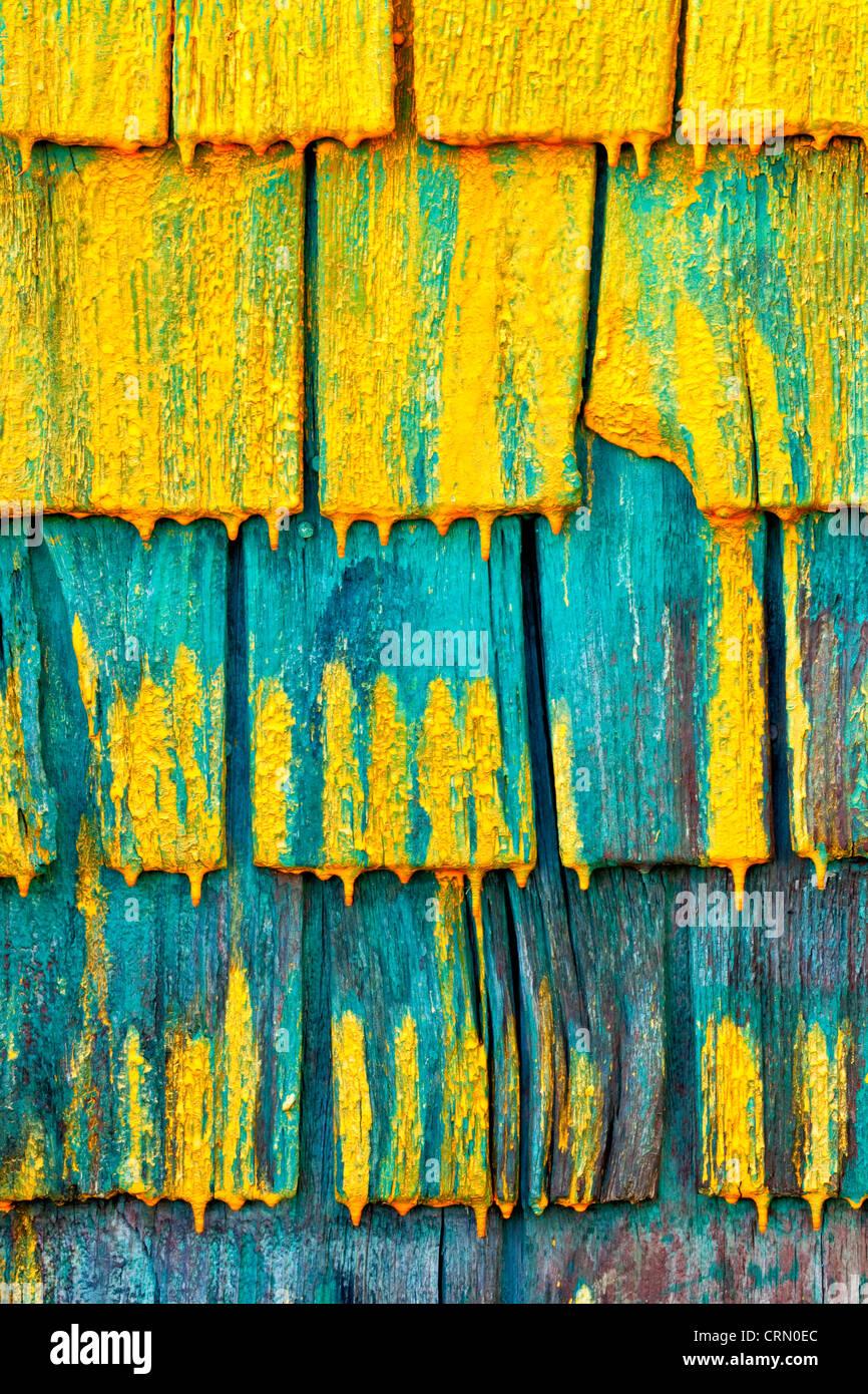 Shingled wall of a fisherman's shed in Nova Scotia, Canada. - Stock Image
