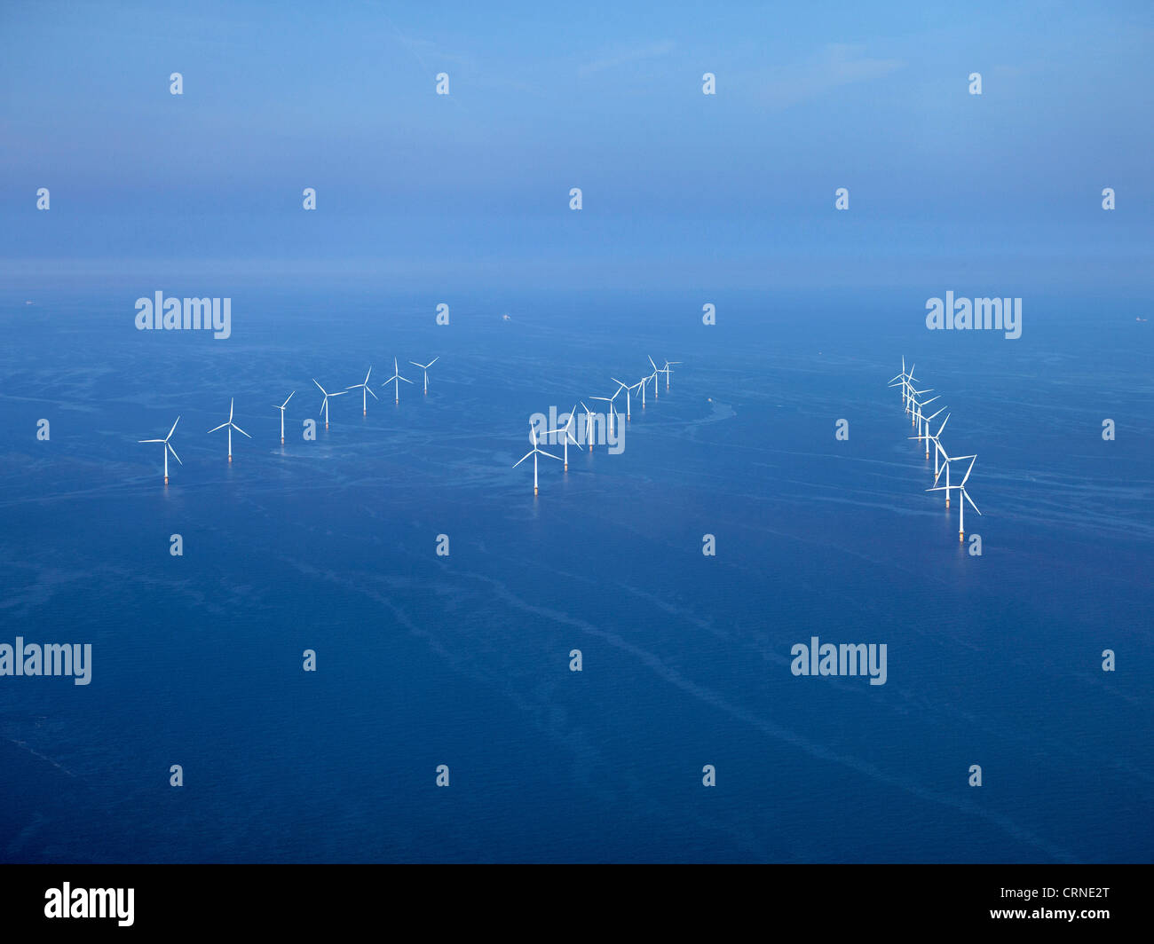 Off shore wind farm Liverpool Bay, off the Wirral, North West England - Stock Image