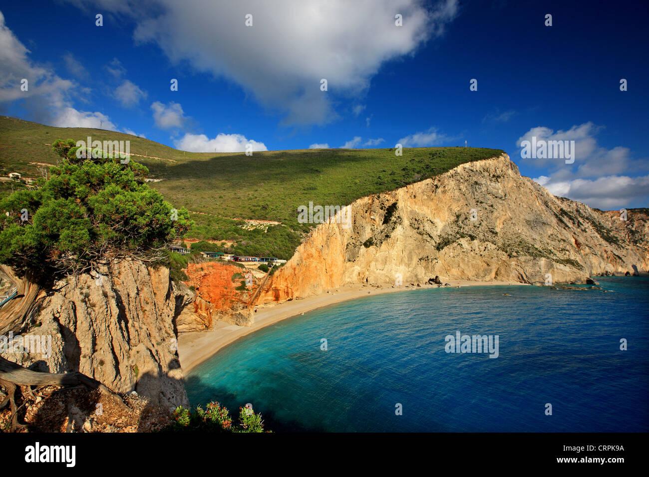 World famous Porto Katsiki beach ('off season'), Lefkada (or 'Lefkas') island, Ionian Sea, Eptanisa - Stock Image