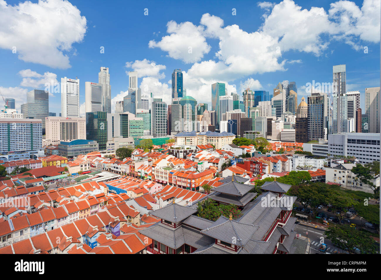 Elevated view over traditional houses in Chinatown, Singapore, Southeast Asia, Asia - Stock Image