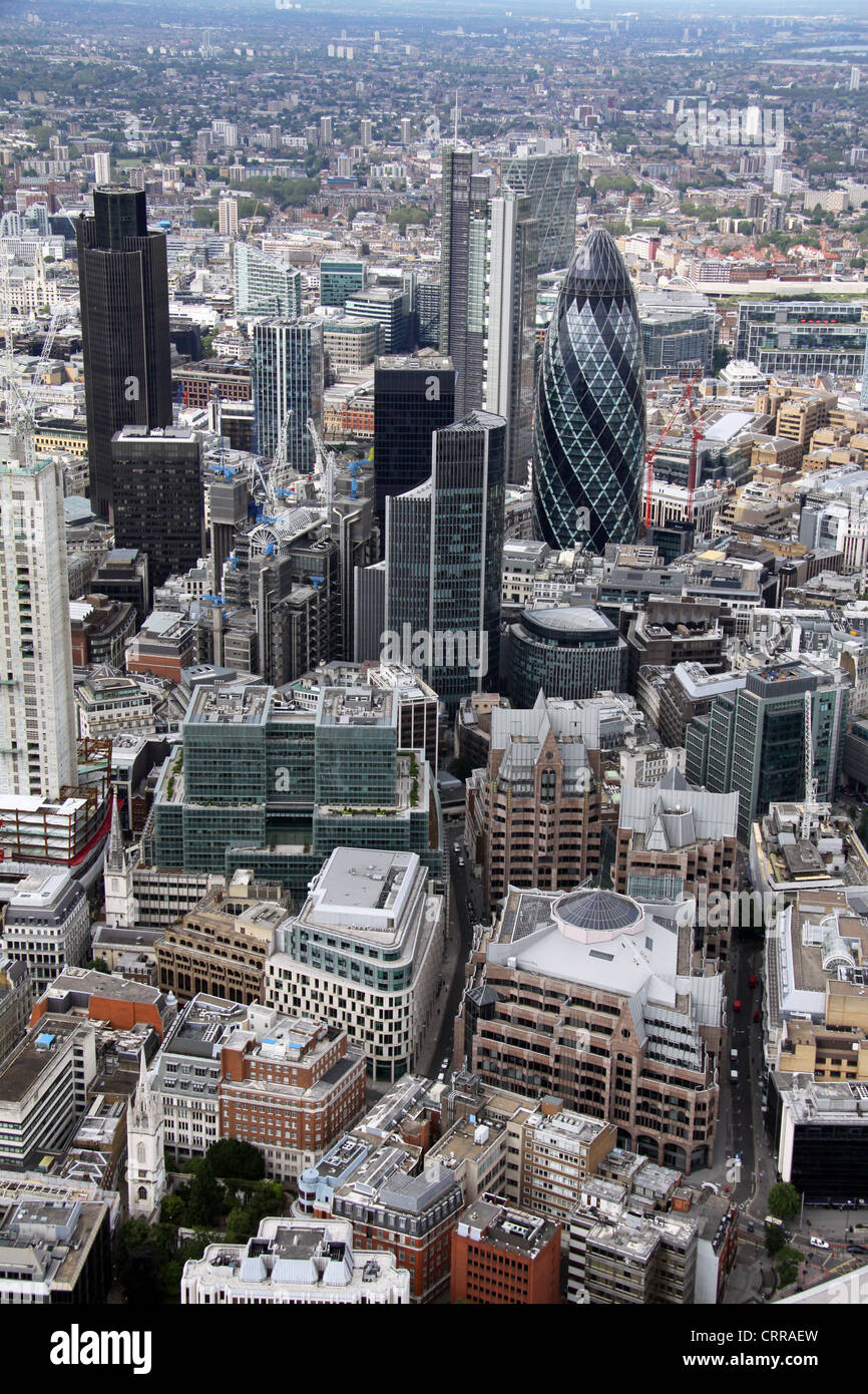 aerial view of the City of London, The Gerkin - Stock Image
