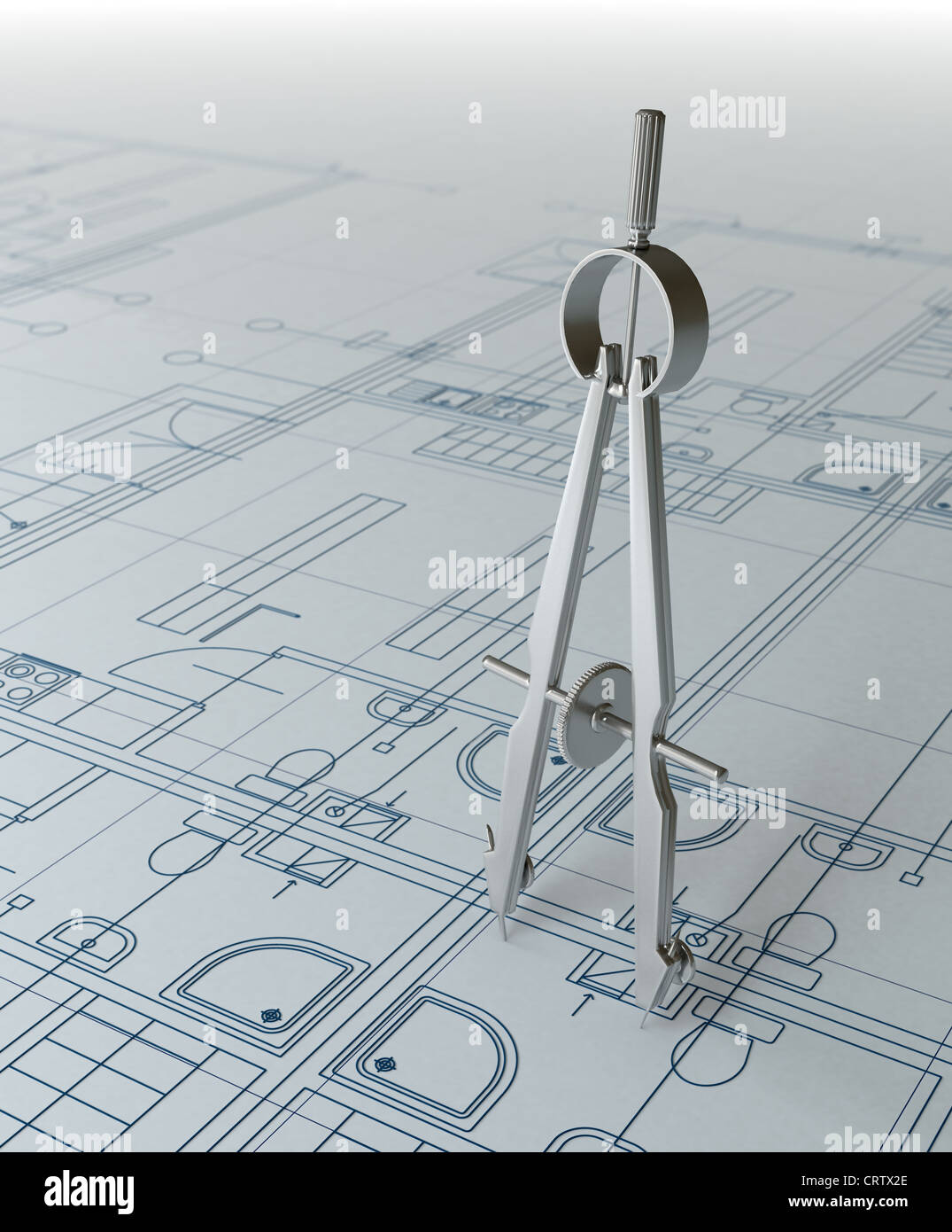 Compass and architectural draft - Stock Image