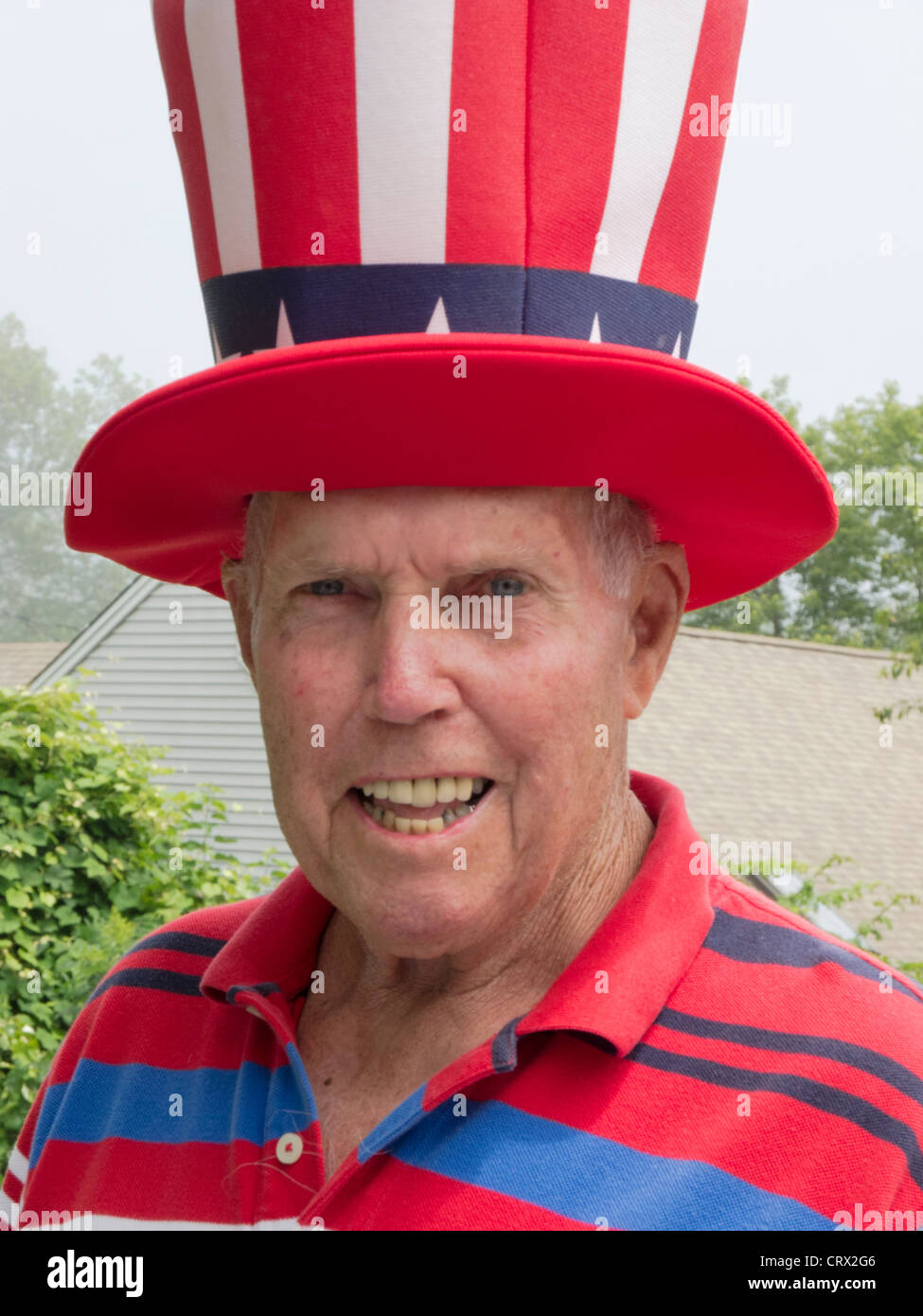 4 July 2011:  American small town Independence Day Parade Niantic CT USA fan favorite town smiling man dressed as Stock Photo