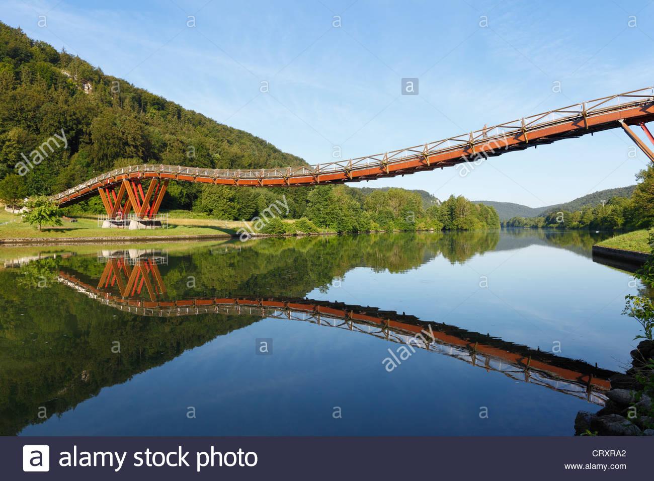 Germany, Bavaria, Lower Bavaria, View of wooden Tatzelwurm Bridge - Stock Image