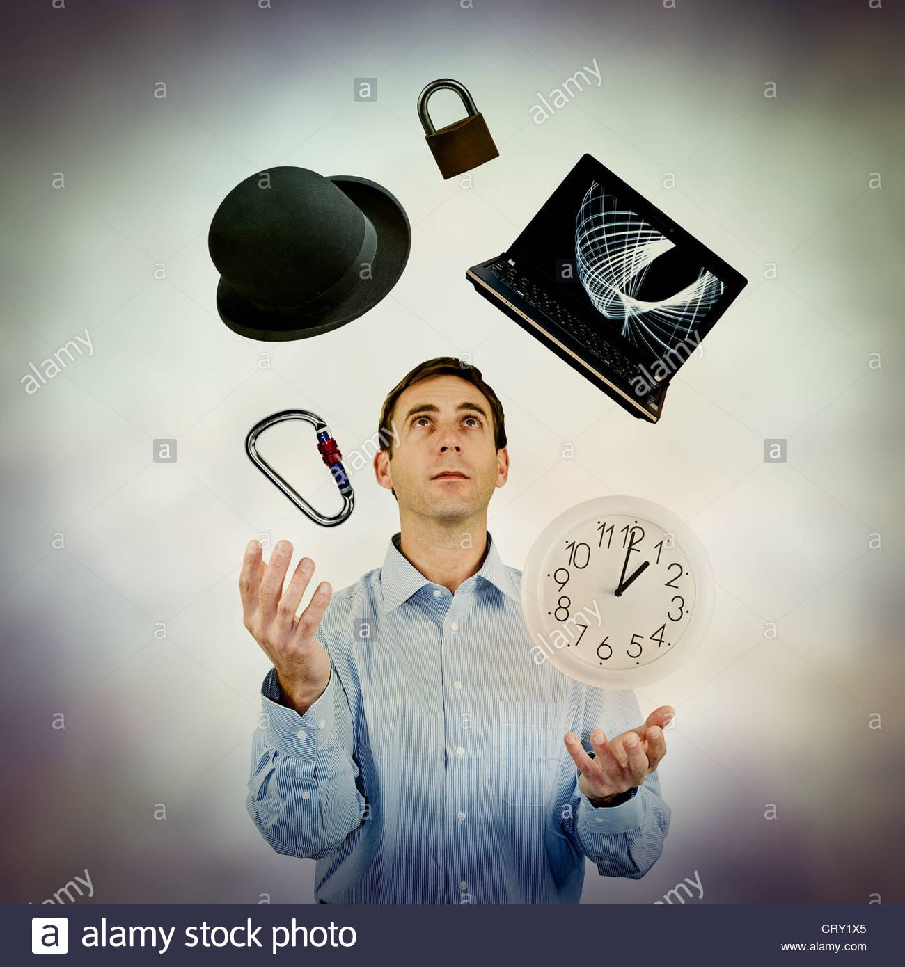 juggling work - Stock Image