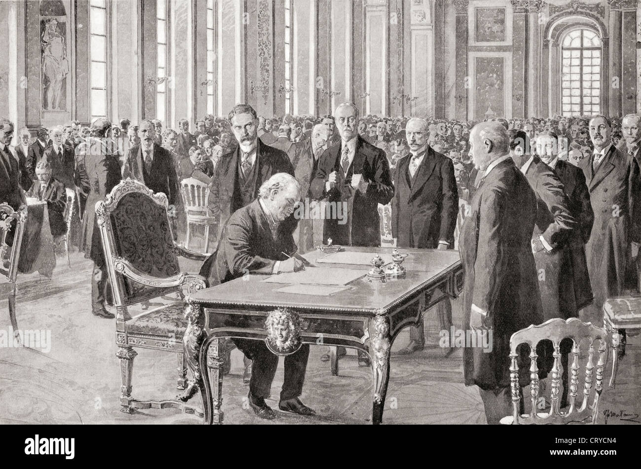 Mr. Lloyd George signs the Peace Treaty with Germany, June 28th, 1919, in the Hall of Mirrors, Palace of Versailles, Stock Photo