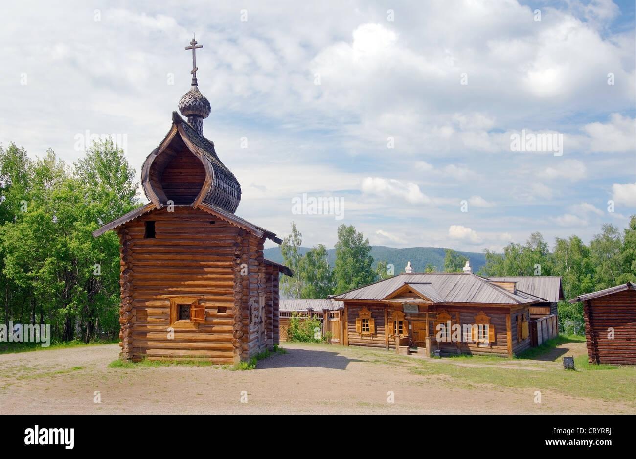 Kazan church of the Ylym jail, 1679. 'Taltsa's' (Talzy) - Irkutsk architectural and ethnographic museum. - Stock Image