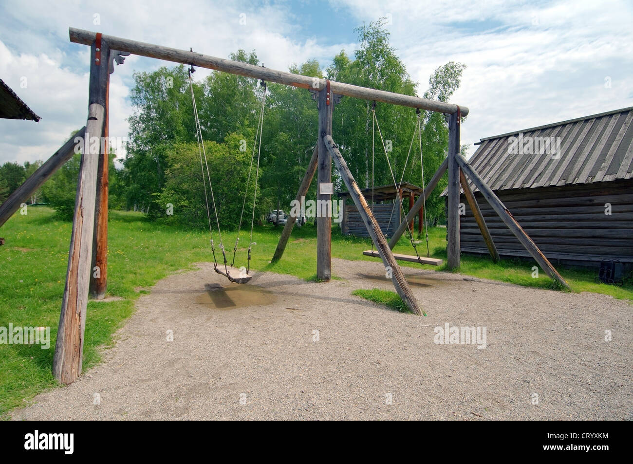 wooden Russian swing, 'Taltsa's' (Talzy) - Irkutsk architectural and ethnographic museum. - Stock Image