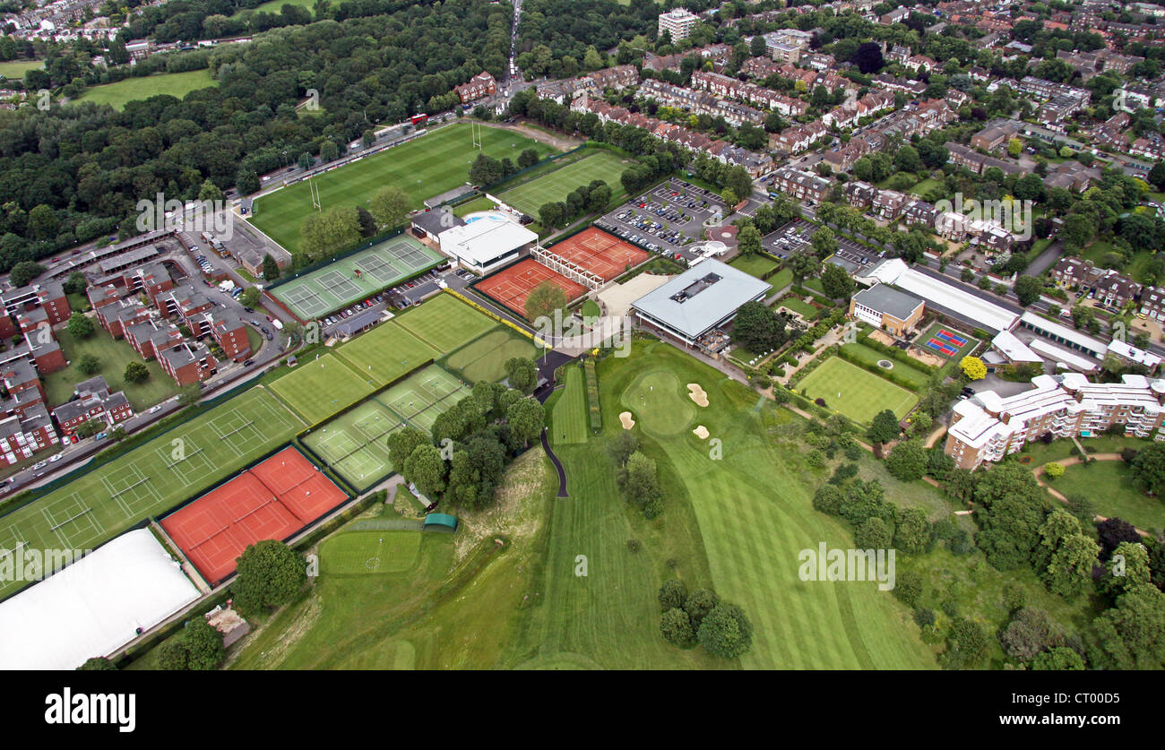 aerial view of Roehampton Sports Club, London SW15 - Stock Image