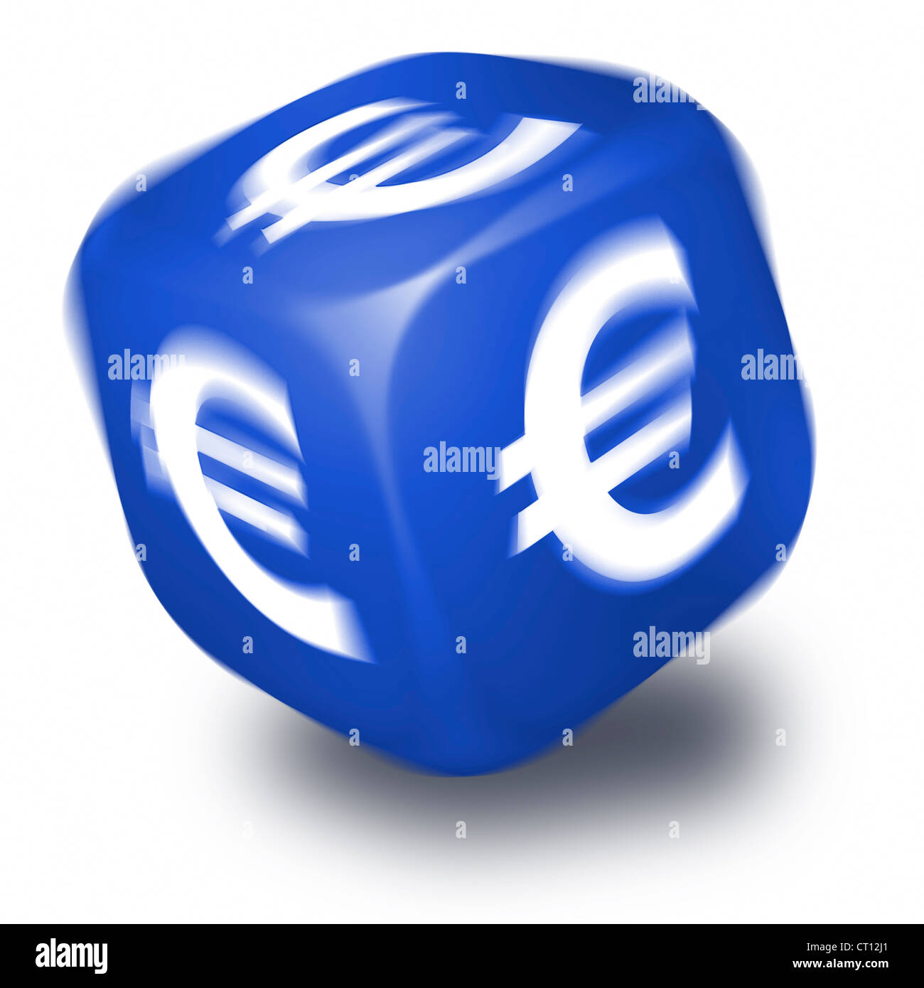 Spinning Blue Dice With The Euro Symbol Printed On Each Face Stock