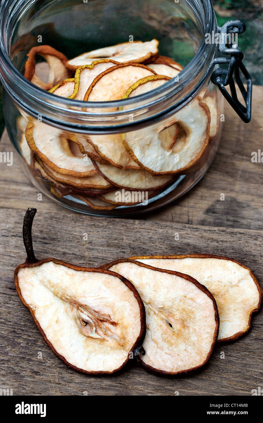 Close up of sliced pear - Stock Image