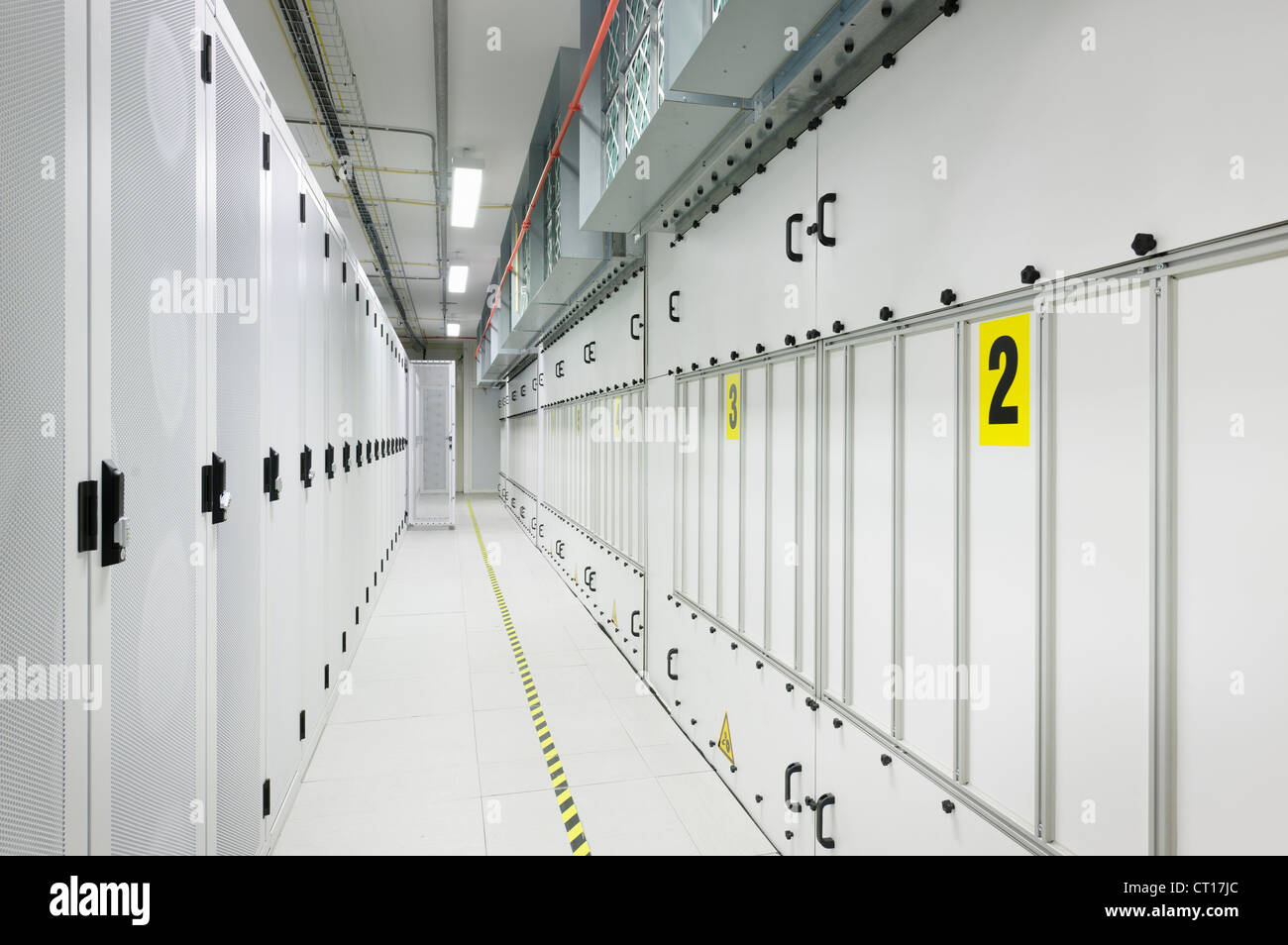 Marked hallway in server room - Stock Image