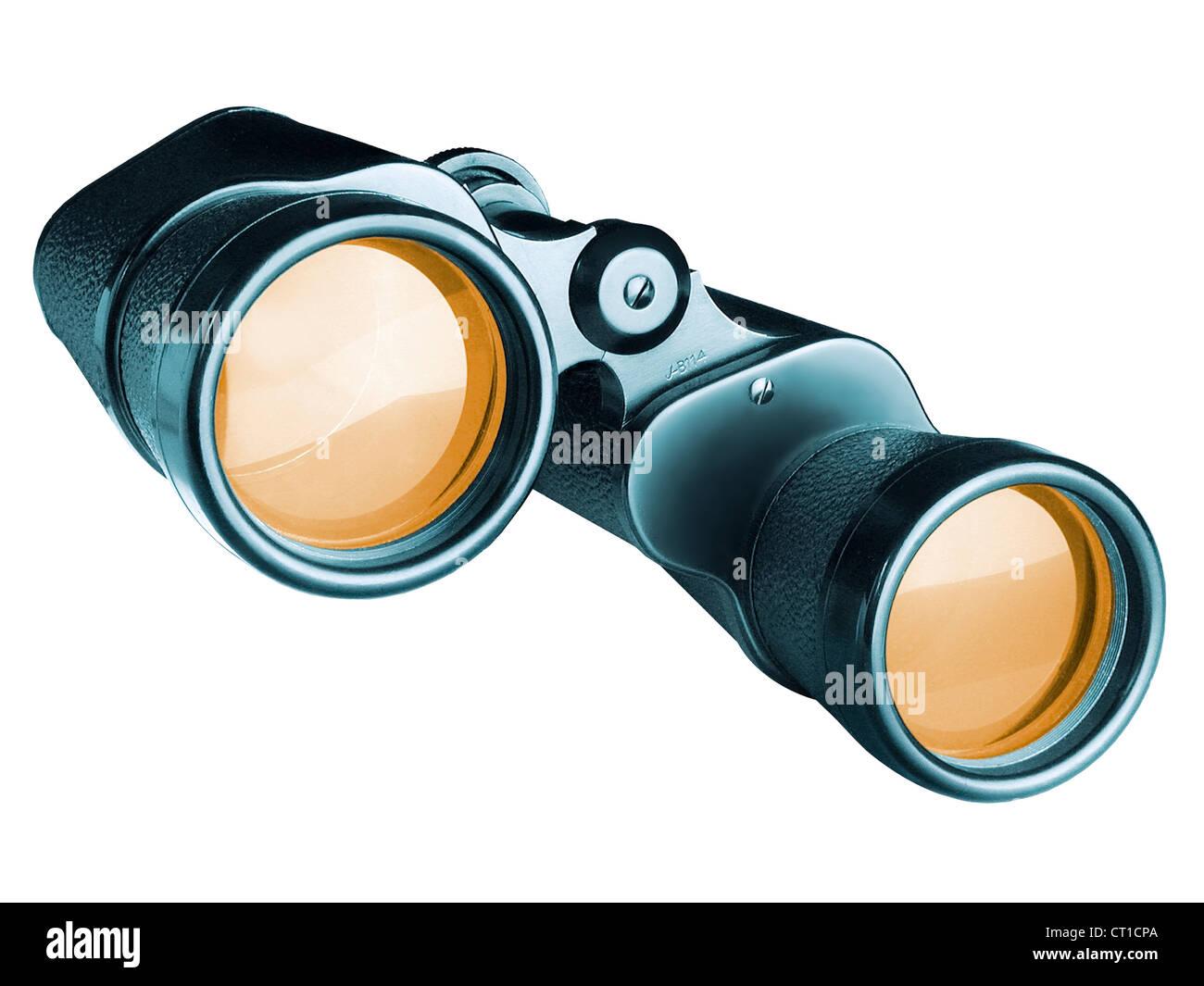 Binoculars on white background - Stock Image
