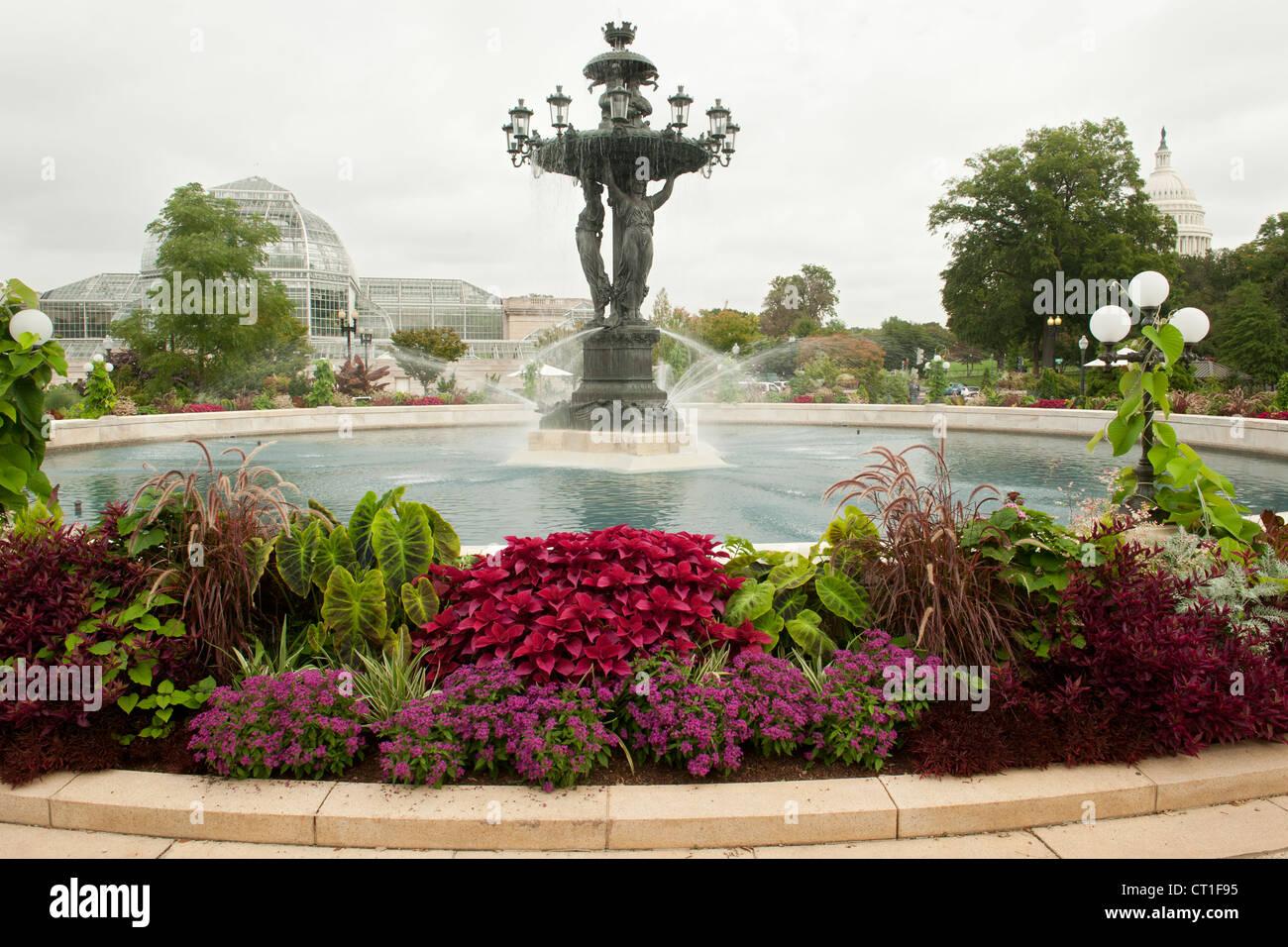 Fountain in Bartholdi Park in Washington DC, USA. Stock Photo
