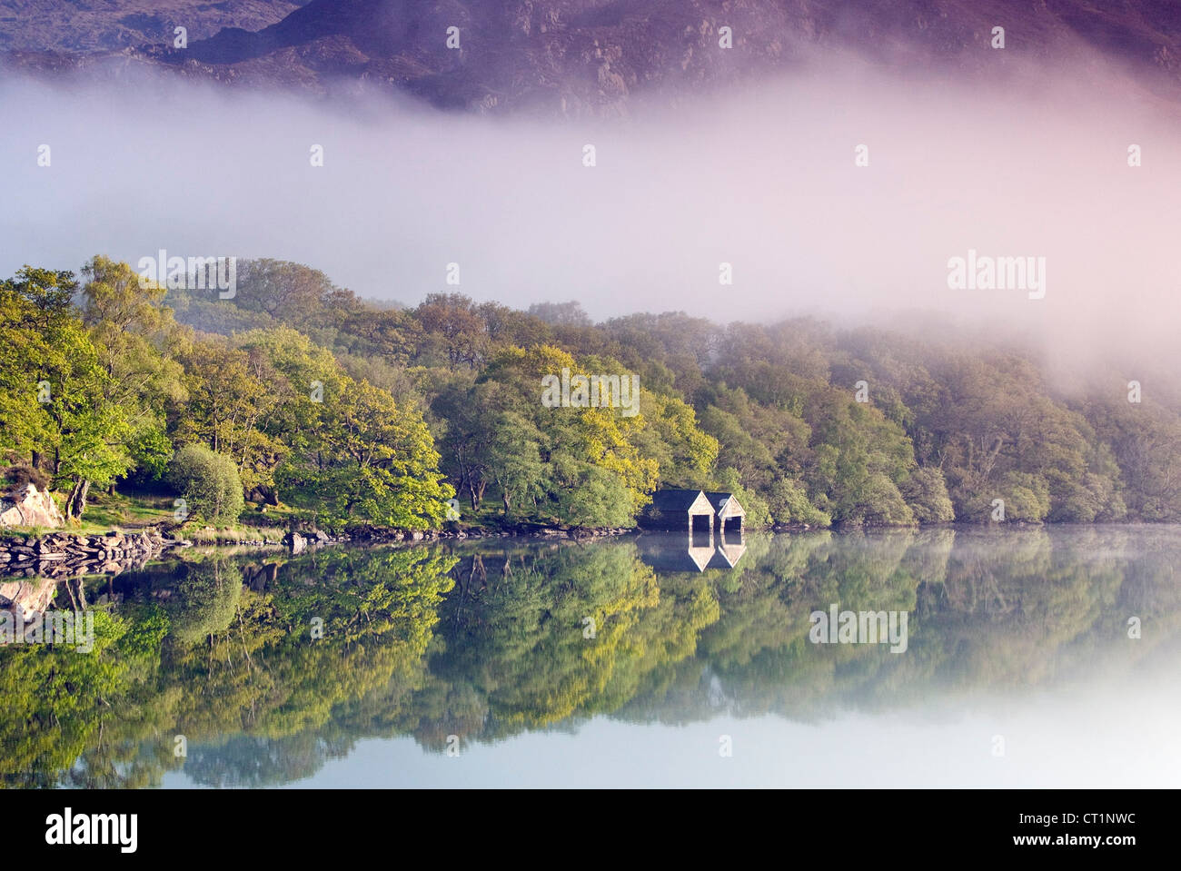 Boathouse on tree lined north western shore of a misty Llyn Dinas Lake in the Nantgwynant Valley Snowdonia North - Stock Image