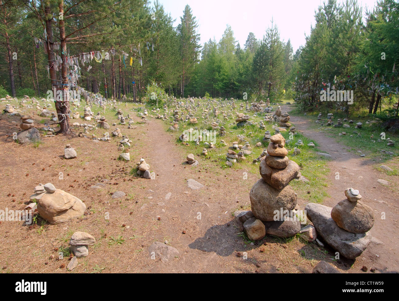 stones of fulfillment of desires, stone garden. Arshan, Tunkinsky District, Republic of Buryatia, Siberia, Russian - Stock Image