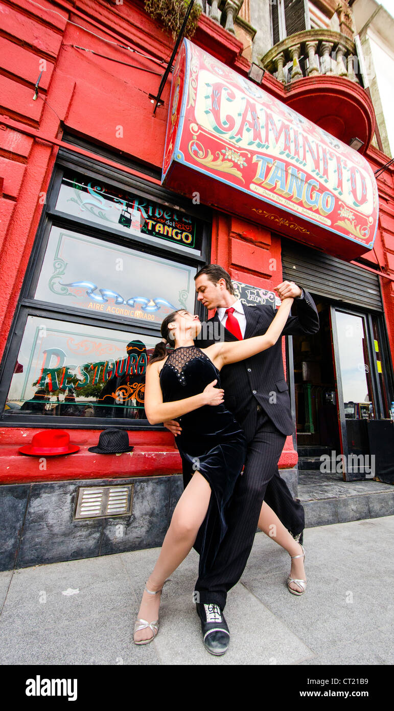 Tango street dancers outside the Caminito Buenos Aires Argentina South America - Stock Image