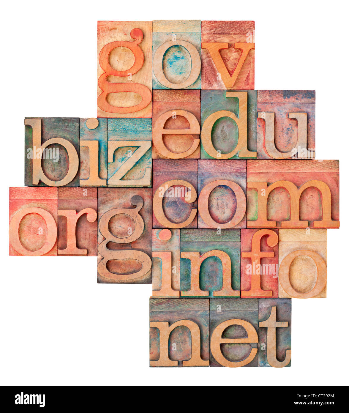 collage of popular internet domain extensions (org, biz, gov, net, info, edu, com) - vintage letterpress wood type - Stock Image